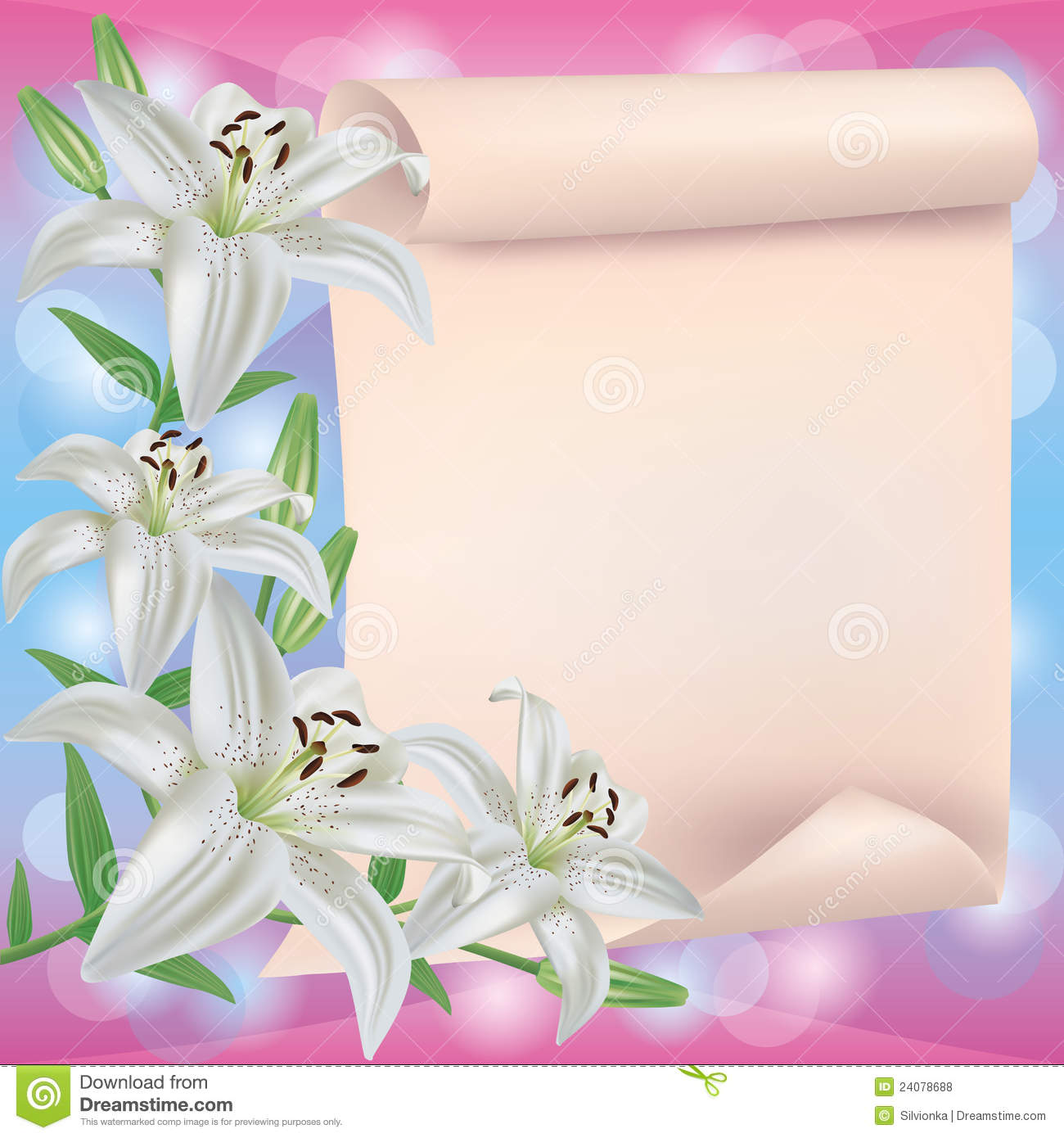 Greeting Or Invitation Card With Lily Flower Stock Vector