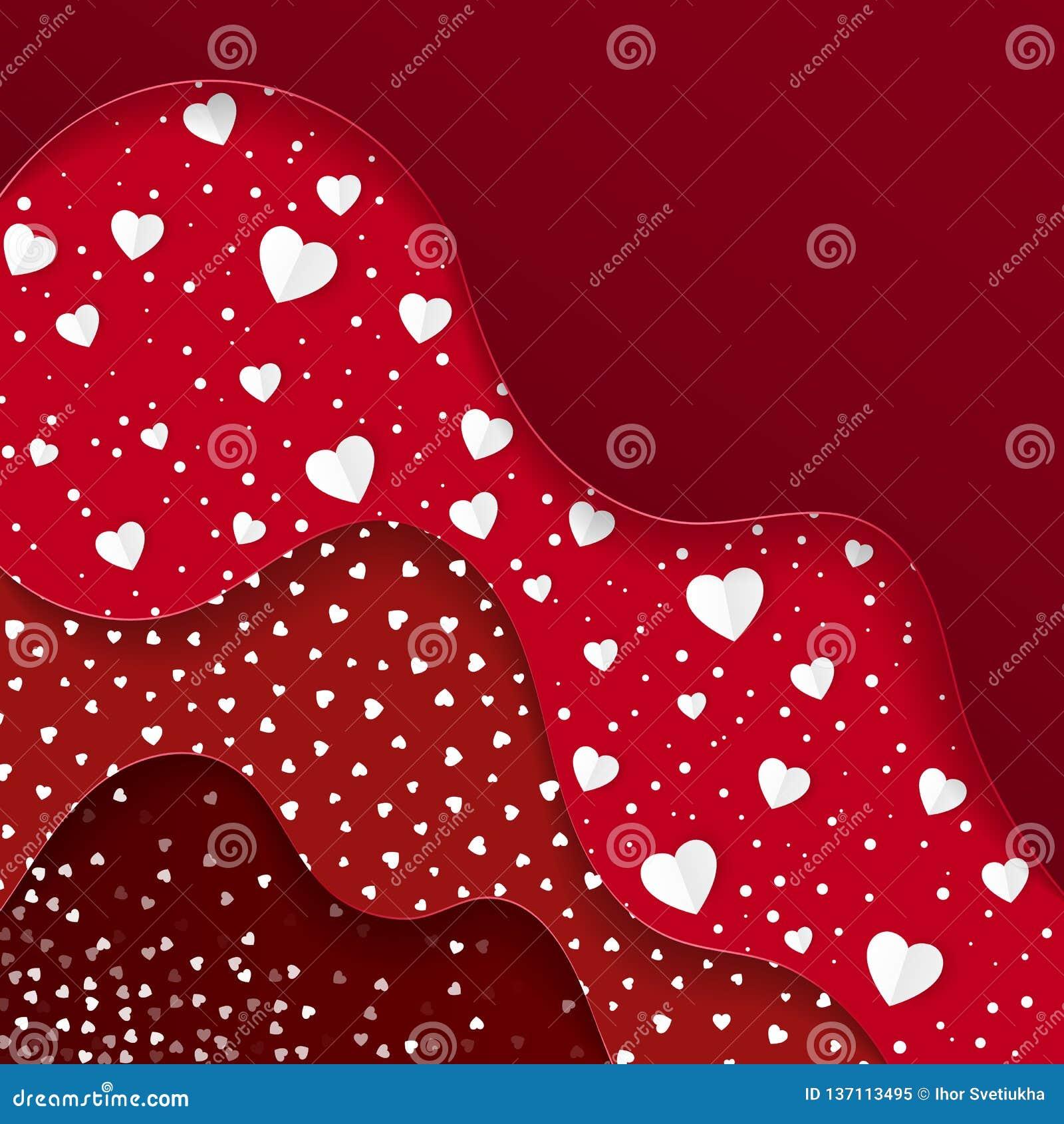 Greeting lyckliga valentiner för kortdag Röda lager med olika dekorativa beståndsdelar Romantisk rensa design
