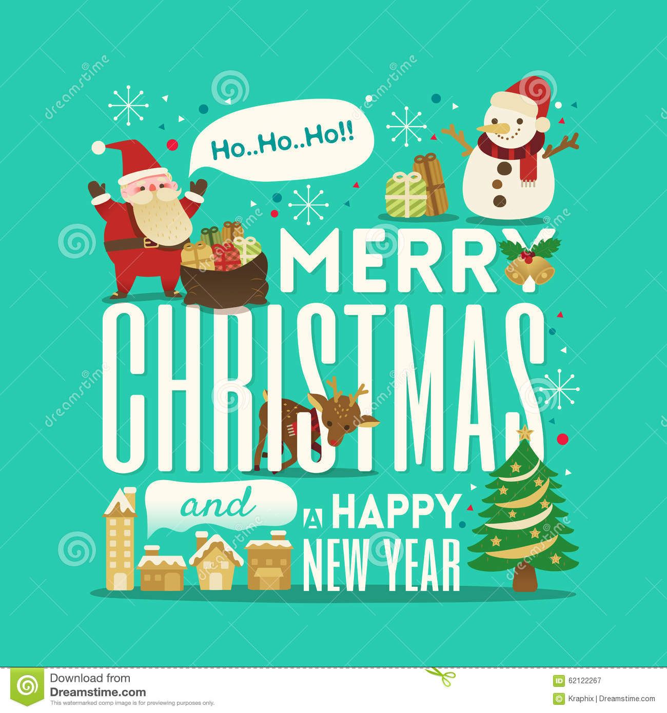 Greeting merry christmas and happy new year stock vector image