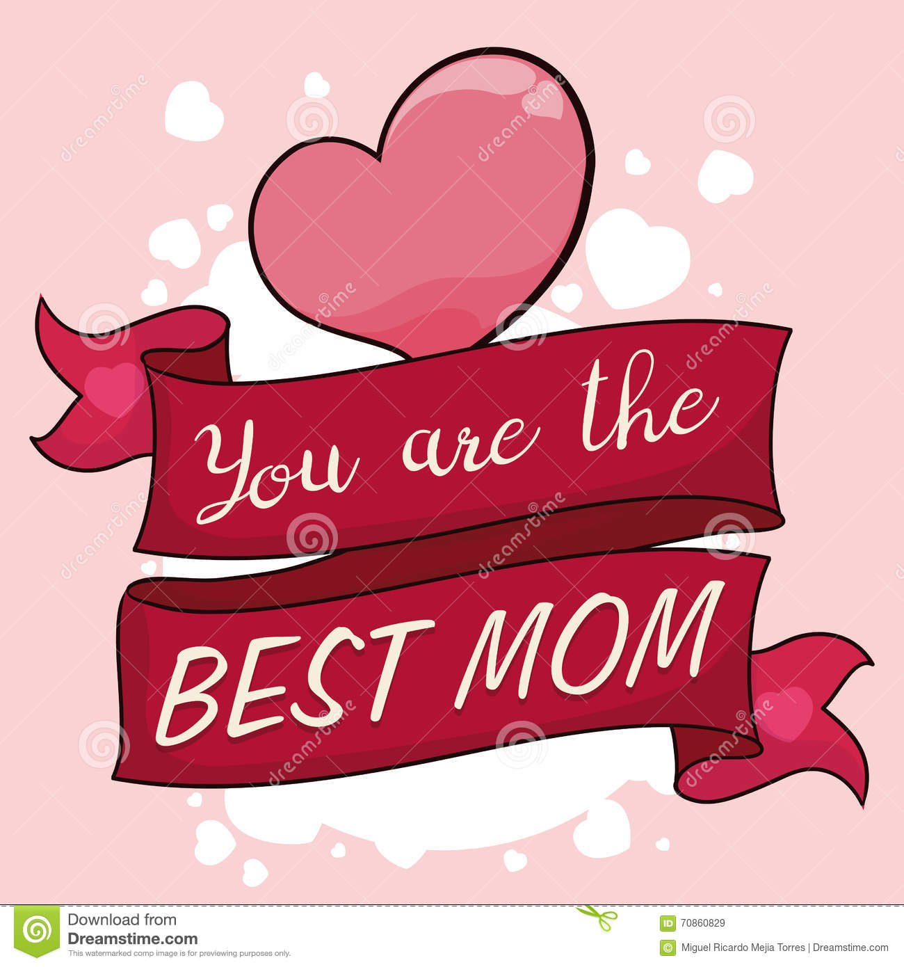 Greeting Message With Ribbons And Hearts For Mothers Day Vector