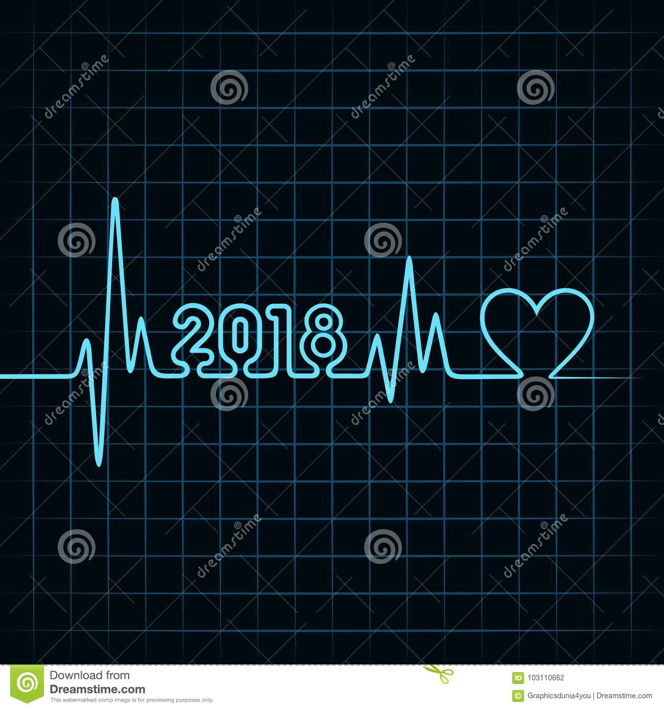 2018 Greeting For New Year Celebration With Heartbeat Design Stock