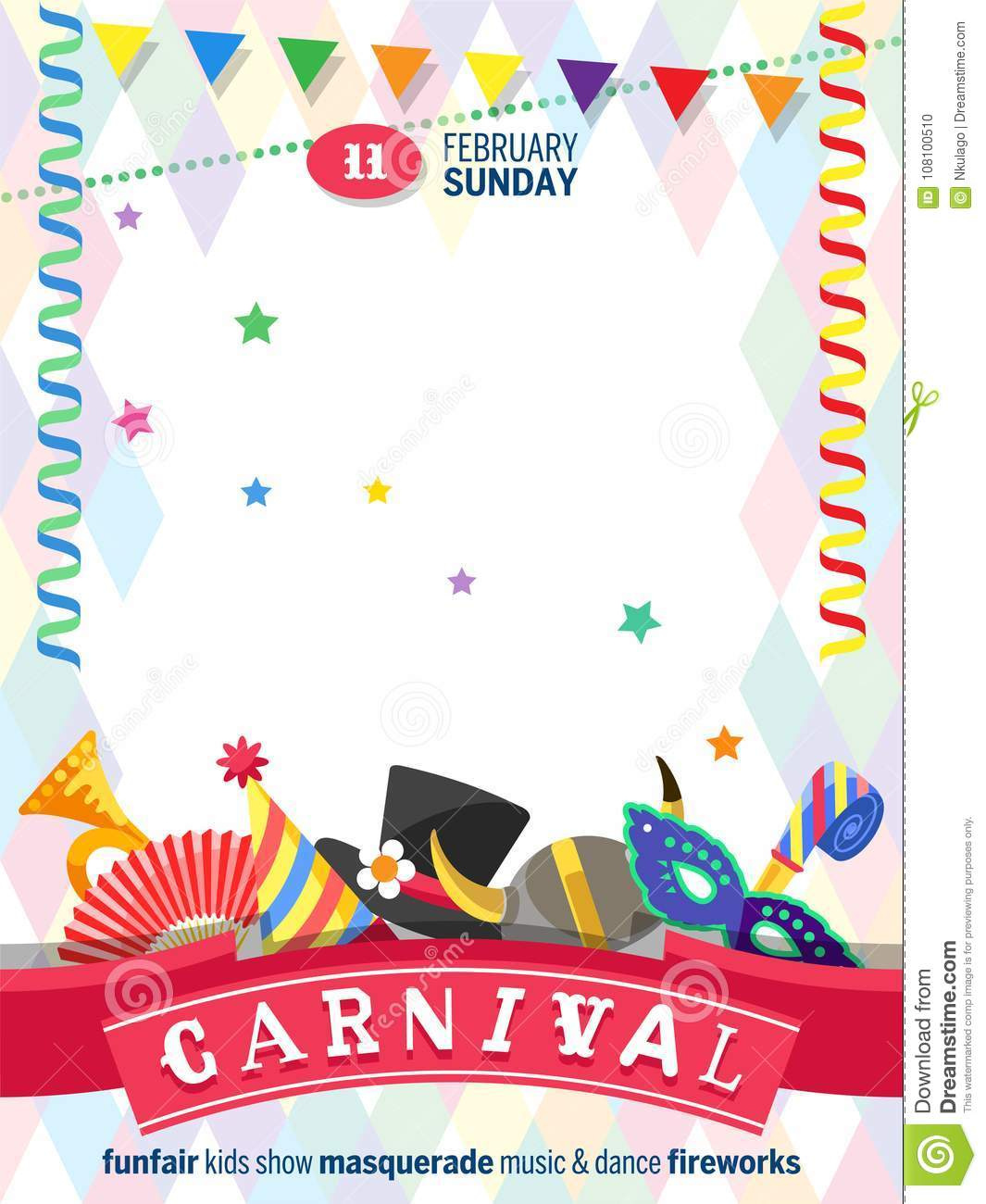 Greeting Poster For Carnival With Colorful Festive Elements