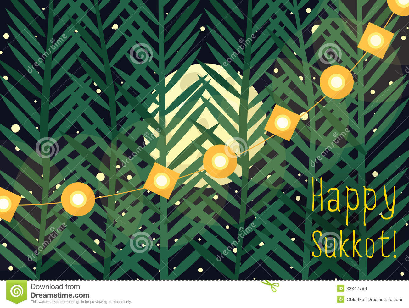 Greeting For Sukkot Stock Vector Illustration Of Orthodox 32847794