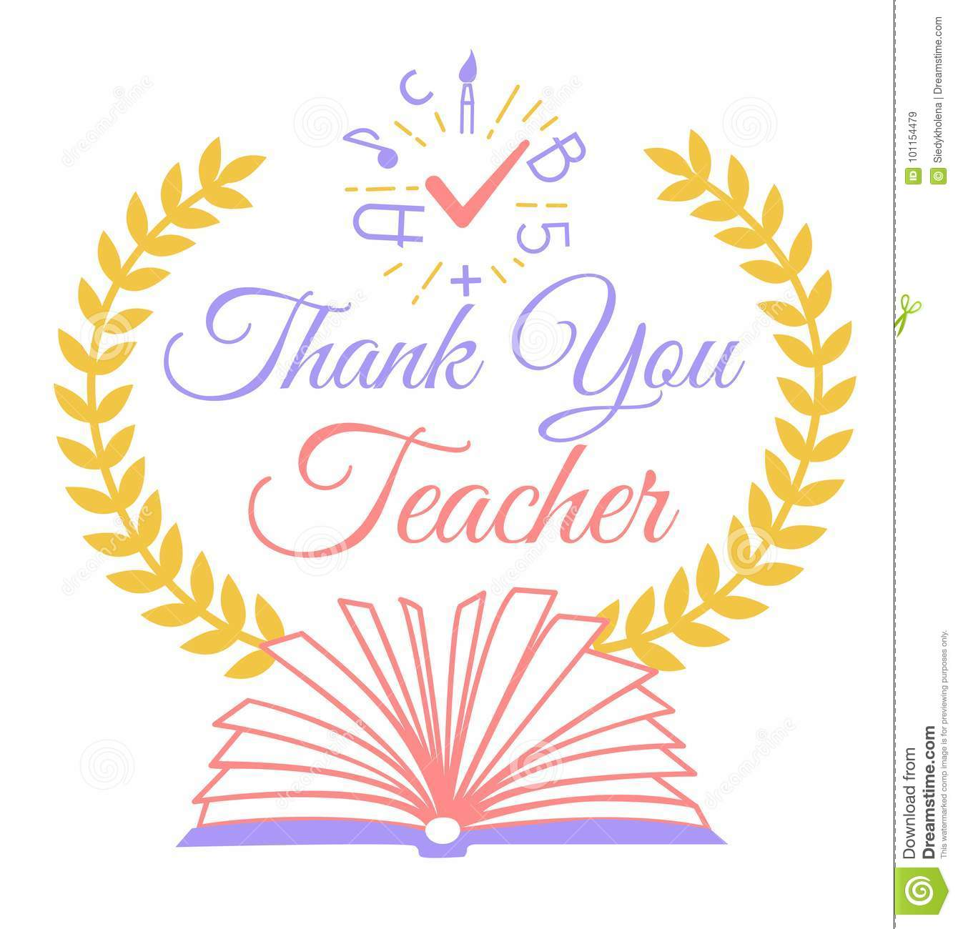 Greeting Thank You Teacher Stock Illustration Illustration Of