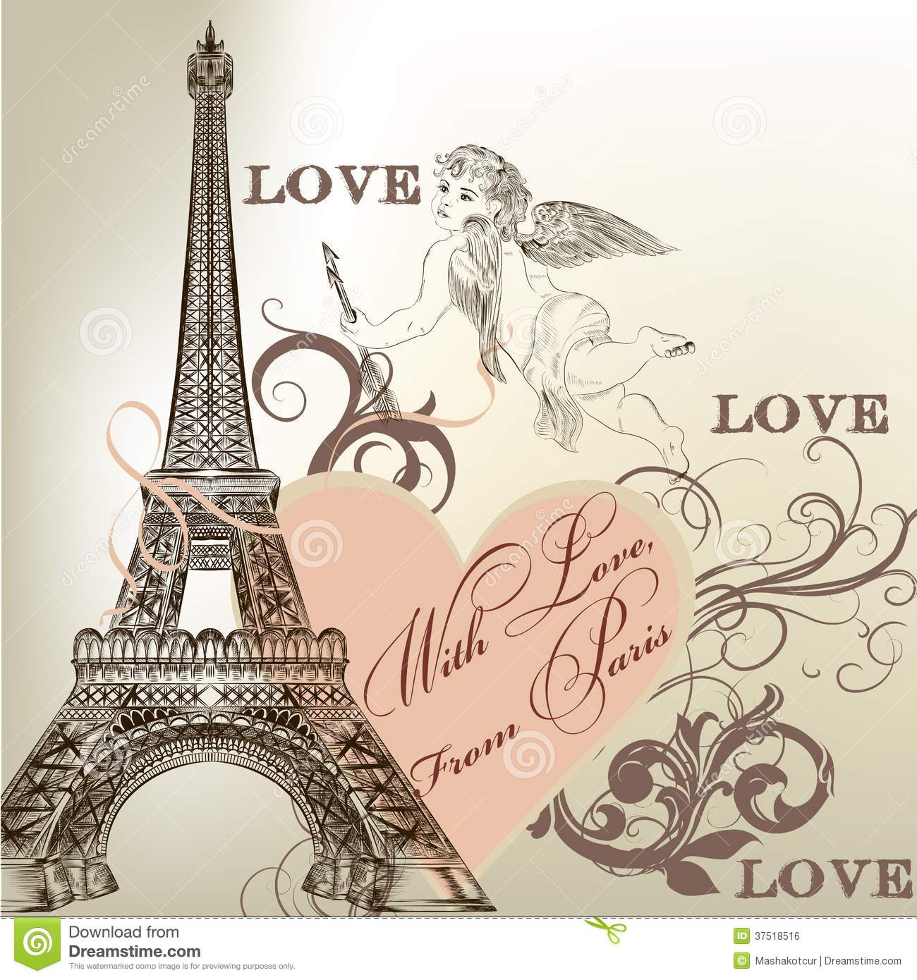 Greeting Valentine Card With Detailed Vector Eiffel Tower Royalty Free ...