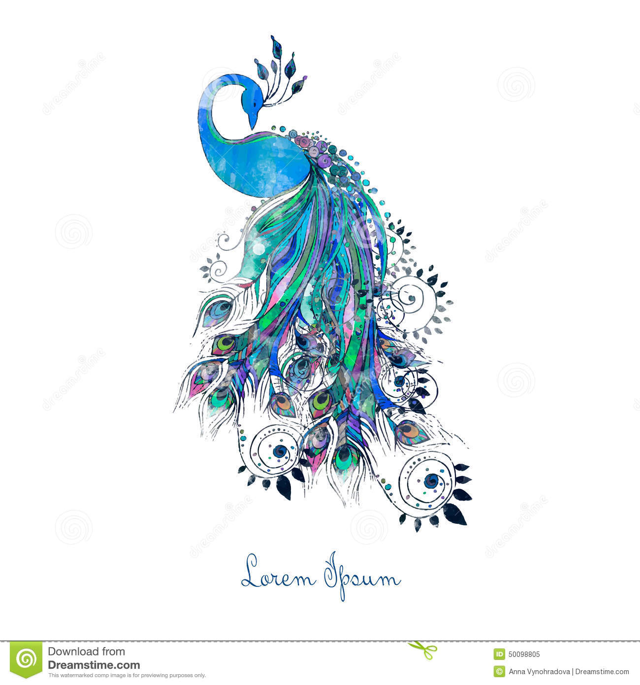 Stock Illustration Greeting Watercolor Card Peacock Frame Made Perfect Cards Any Other Kind Design Birthday Other Image50098805 on Mandala Border