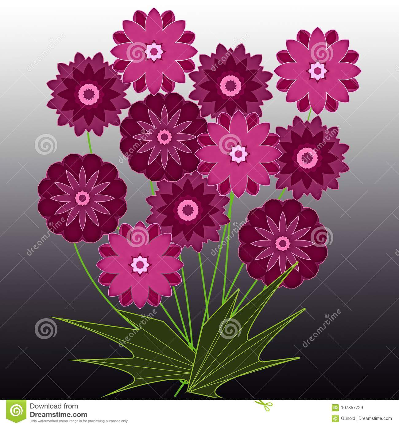 Greetings Card With Bouquet Of Pink Summer Flowers Stock
