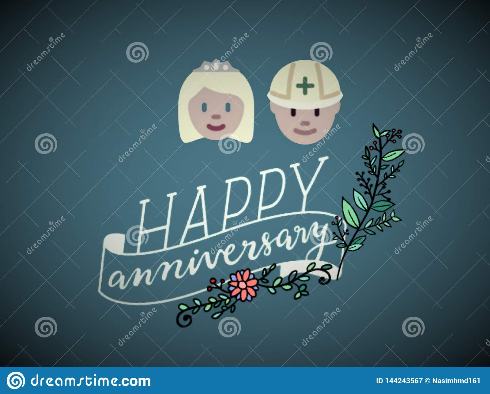 A greetings card/gift card of  happy anniversary, vector.