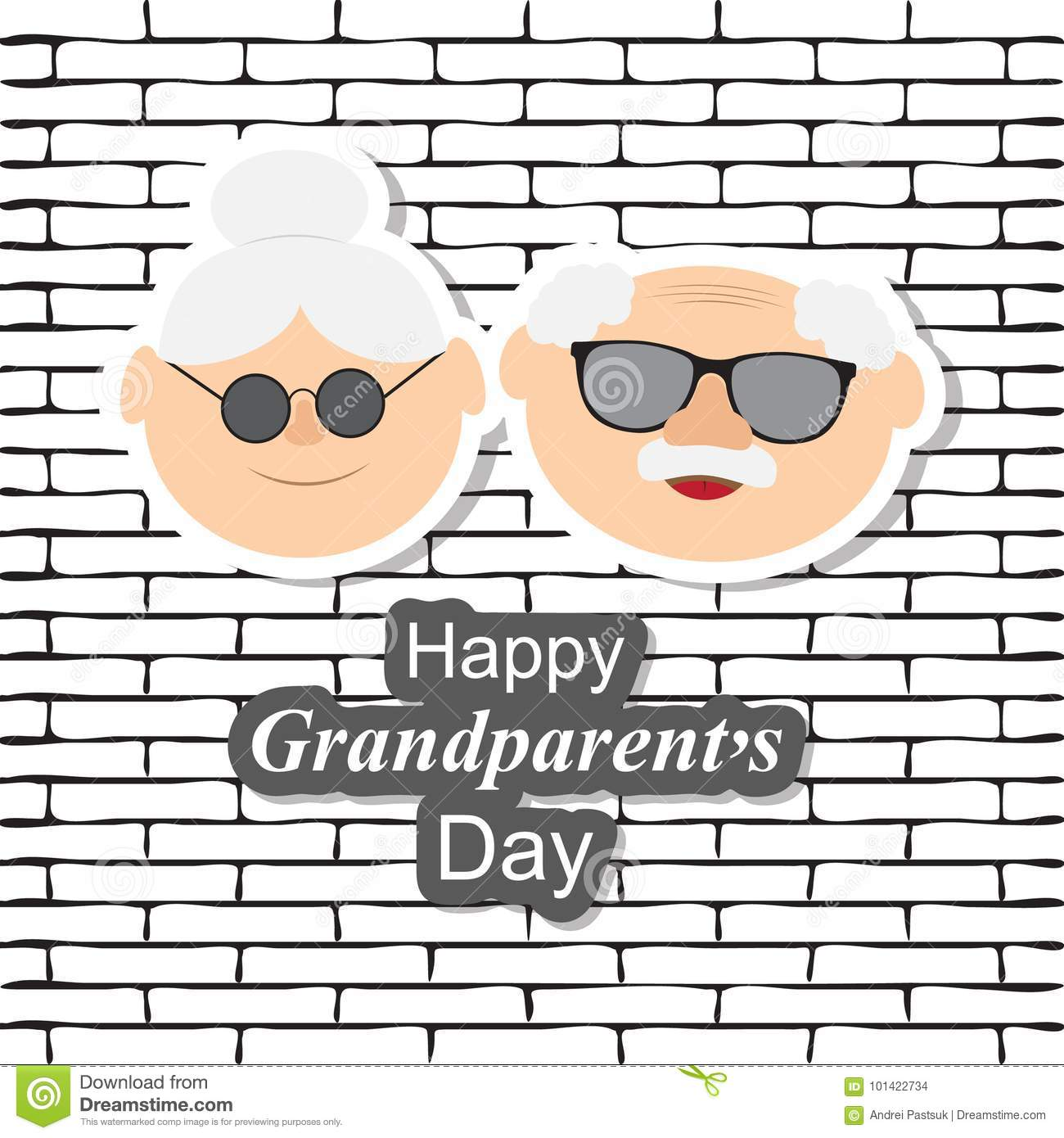 Greetings Card On Grandparents Day With The Phrase And Face Of Stock