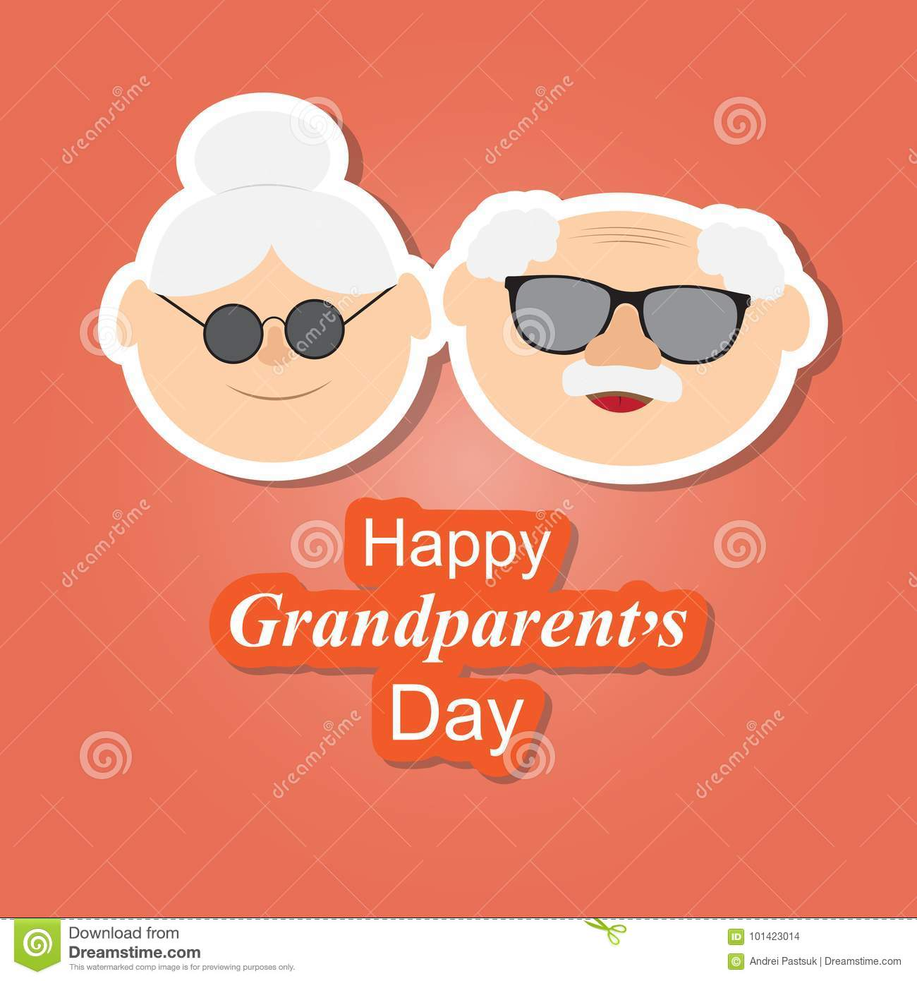Greetings Card On Grandparents Day With The Phrase And Face Stock