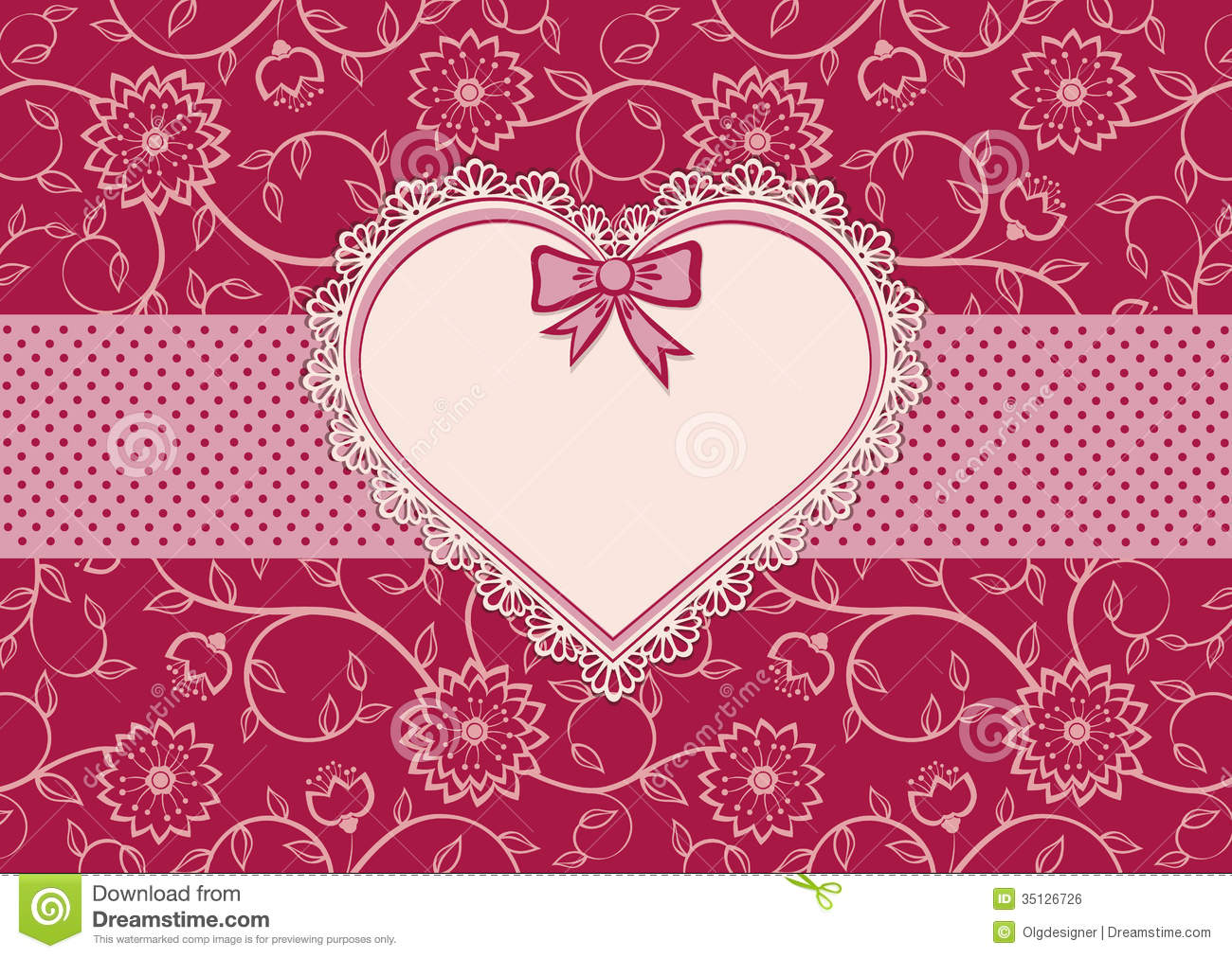 Greetings card with heart frame and dotted ribbon stock for Border lace glam