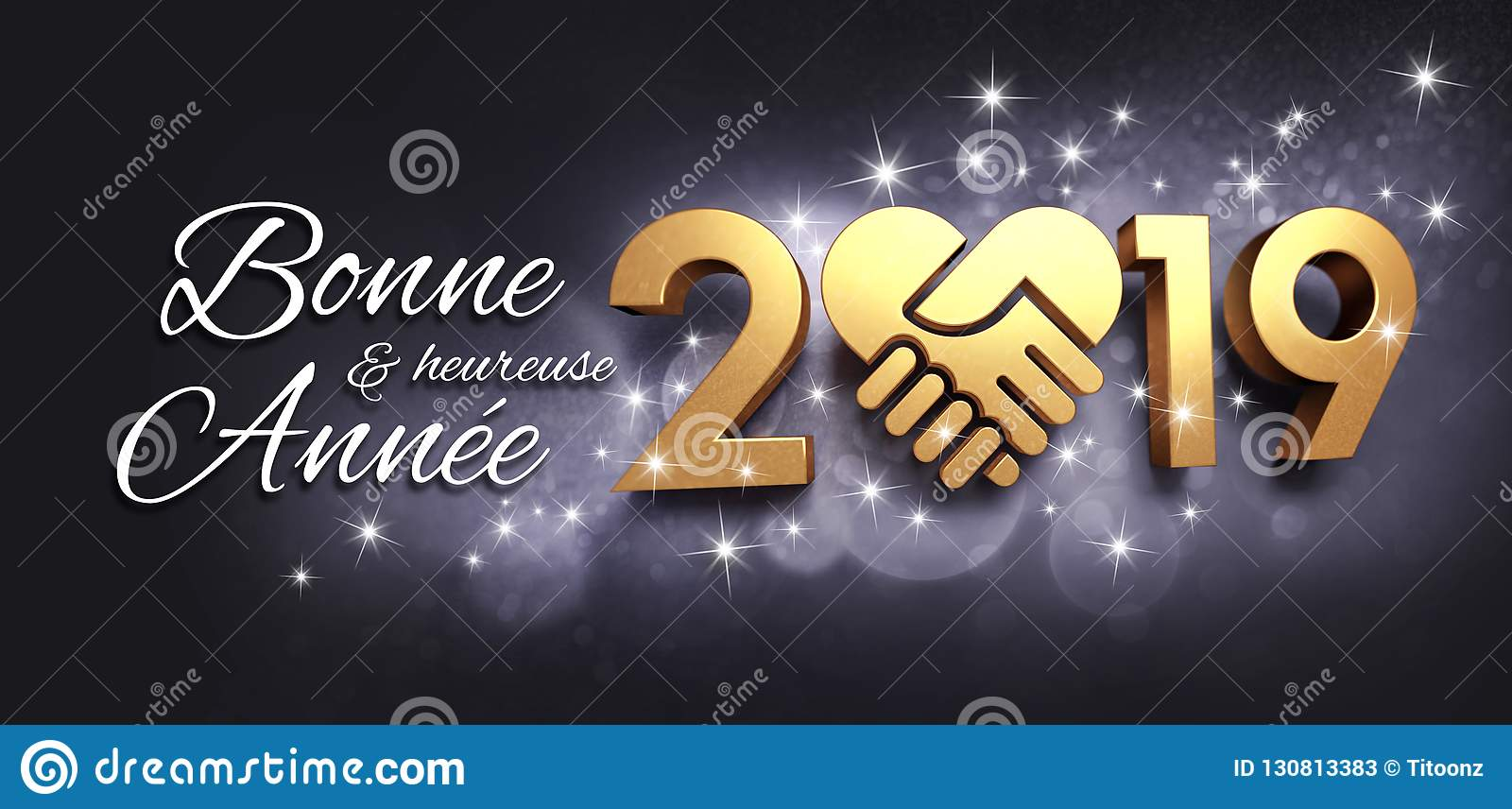 Happy New Year 2019 Greeting Card In French Stock ...