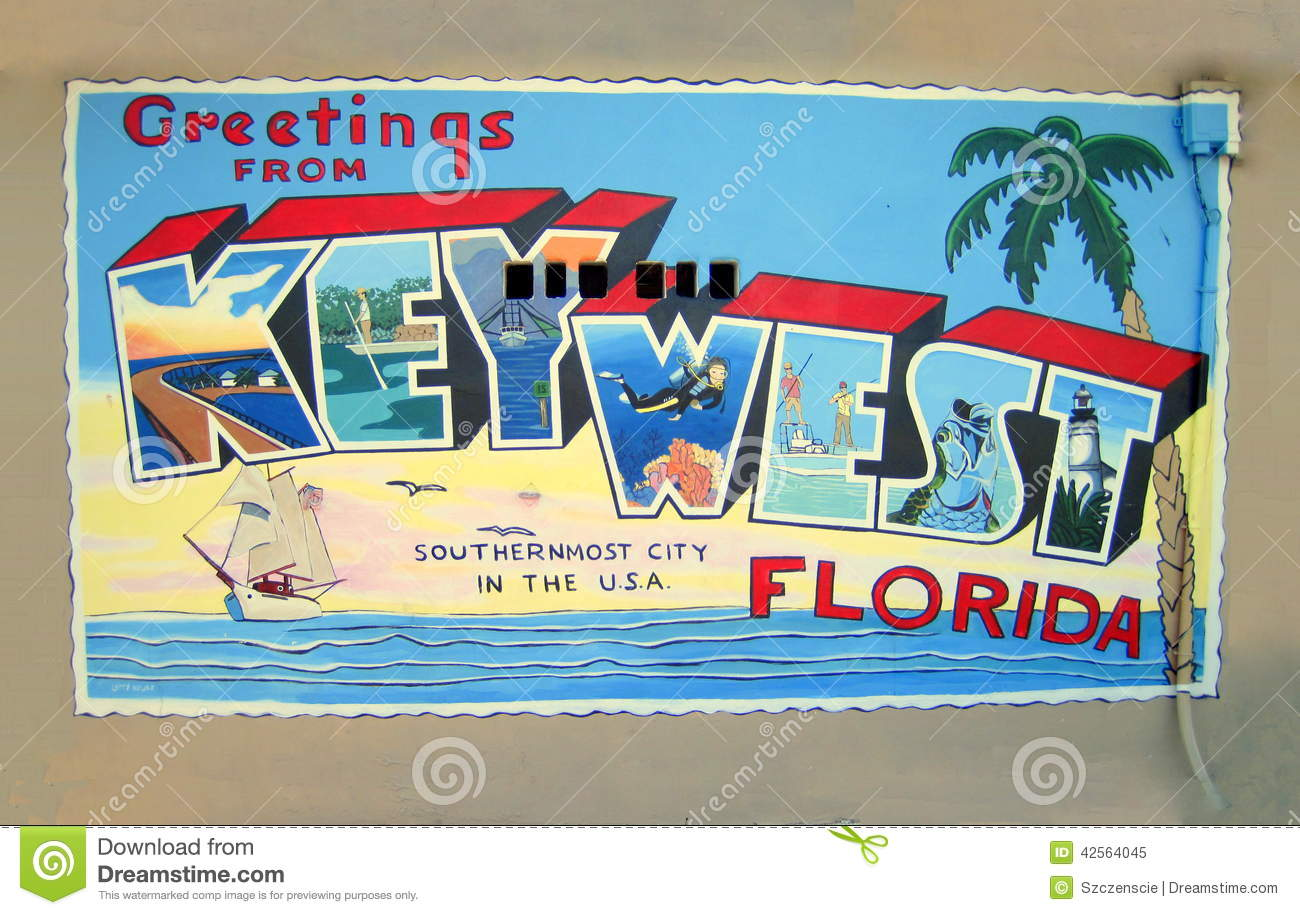 Greetings Postcard From Key West Florida Usa Editorial Image Image 42564045