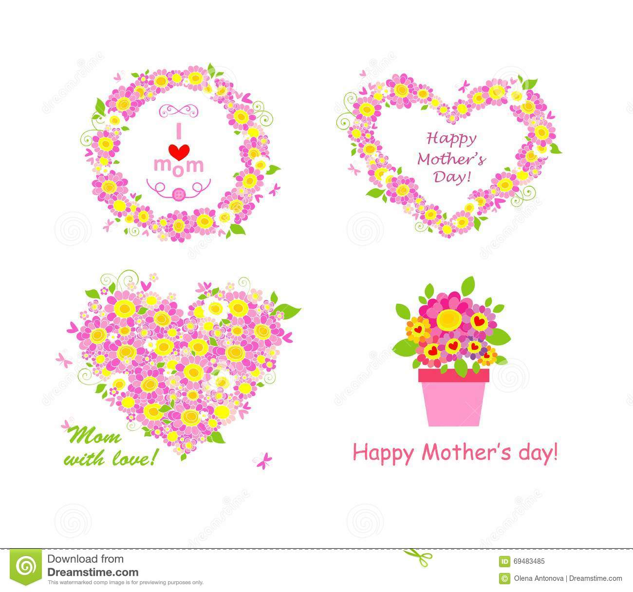 Greetings For Mom With Beautiful Pink And White Daisy Stock Vector