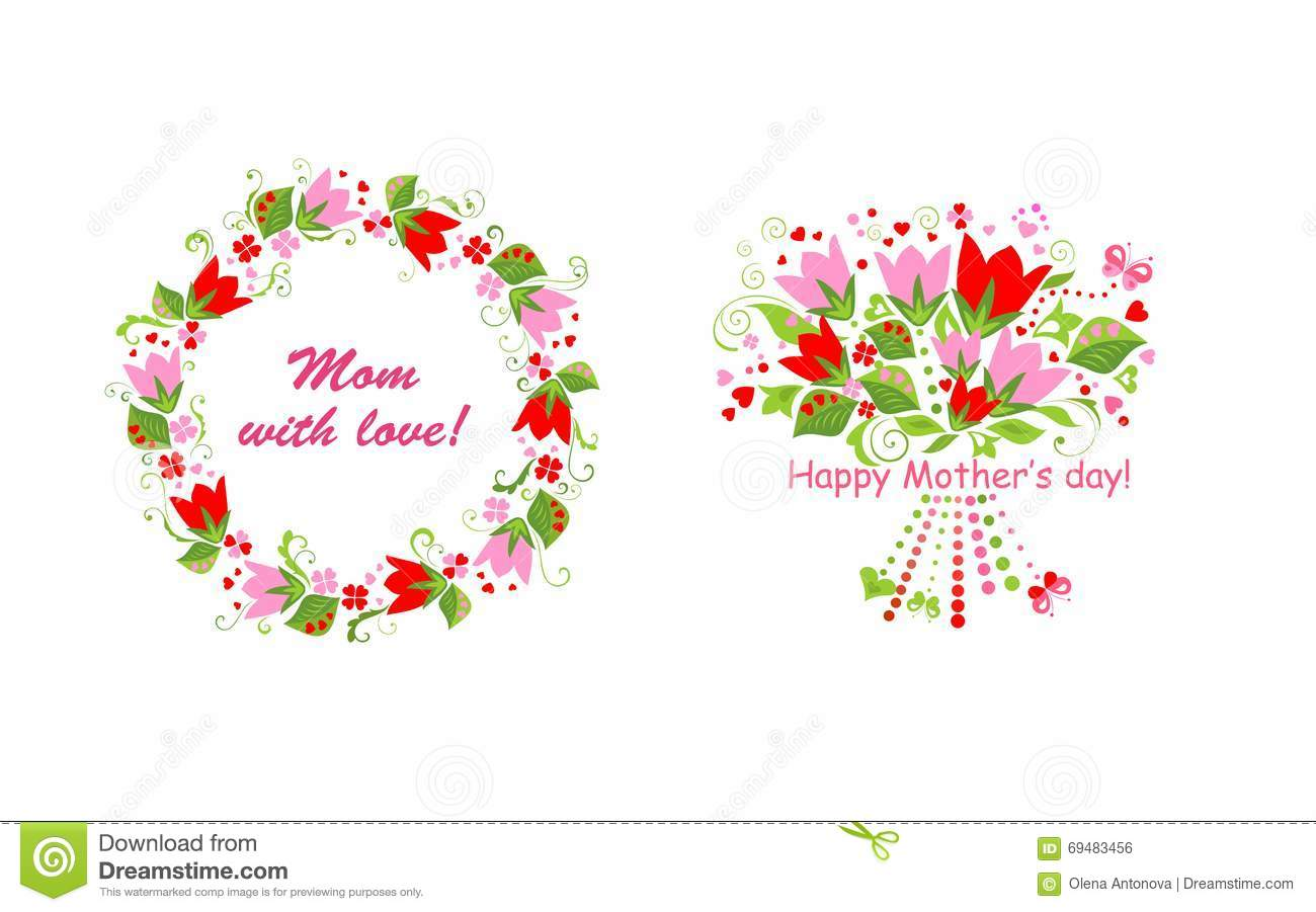 Greetings For Mom With Tulip Stock Vector Illustration Of Floral