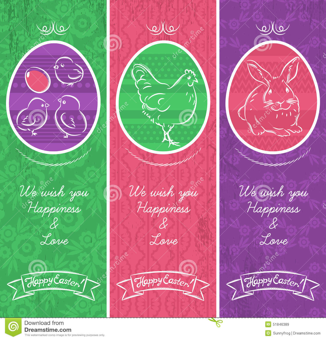 Greetings Web Banner For Easter Day With Frame Stock Vector