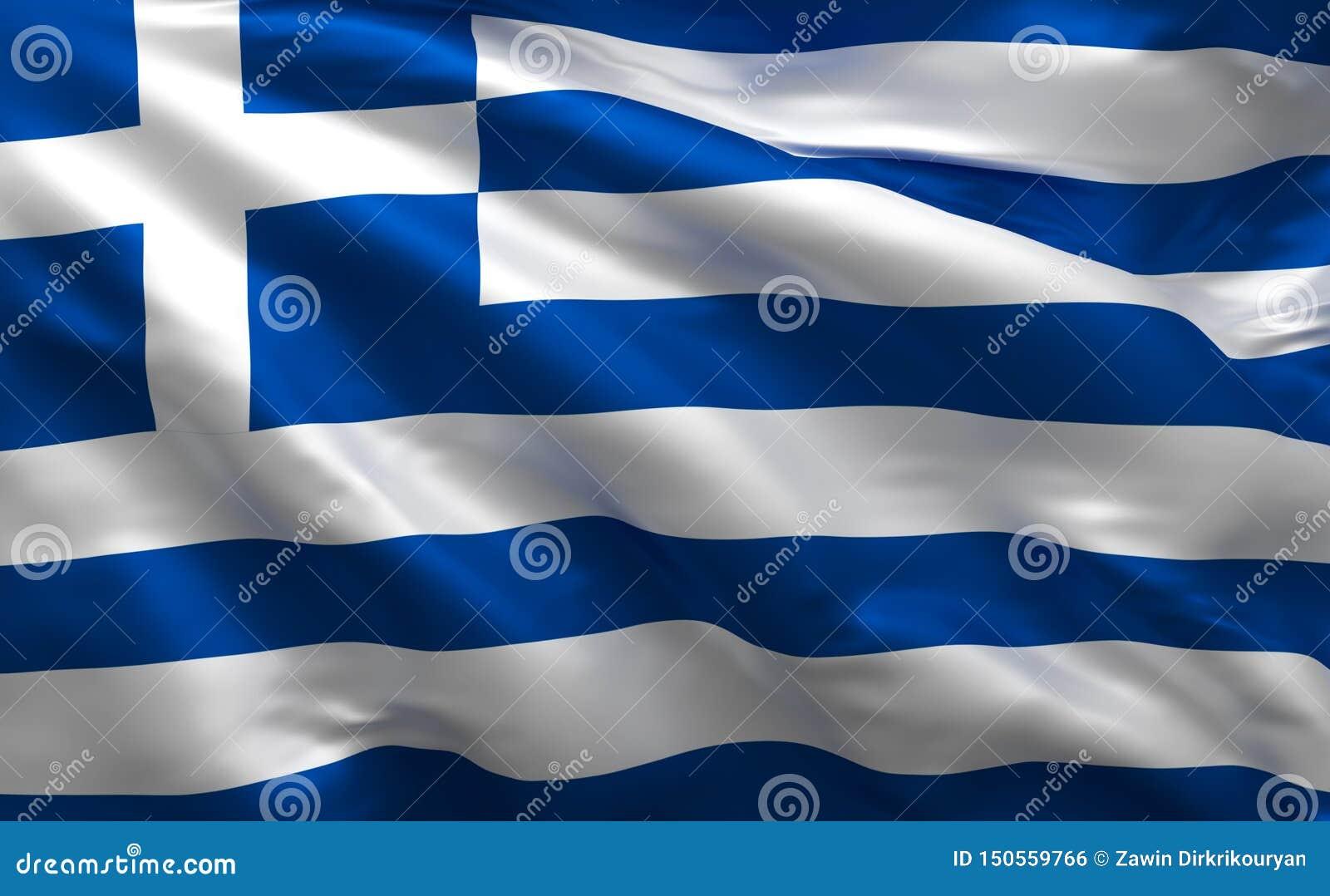 Grekisk enkel flagga, Grekland nationella färger, 3d att framföra