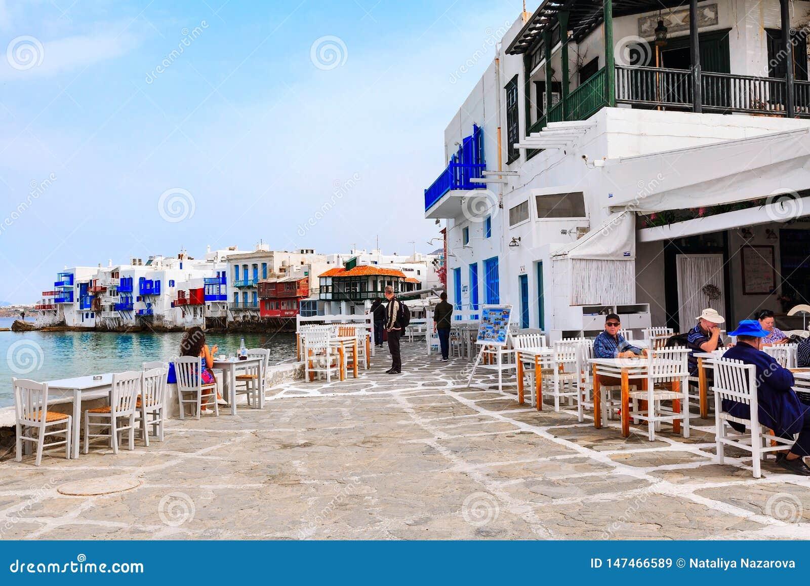 Grekisk krog i lilla Venedig, Mykonos, Grekland