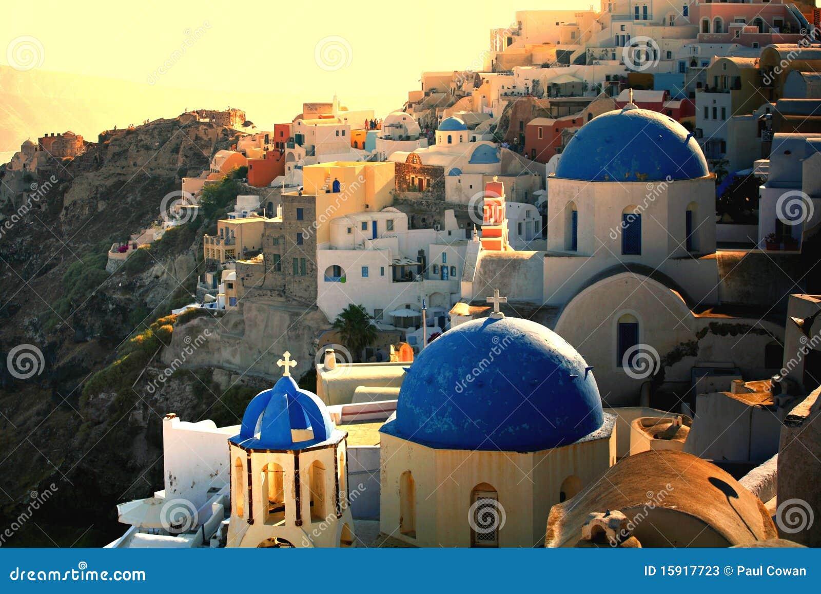 Grekisk santorinisolnedgång