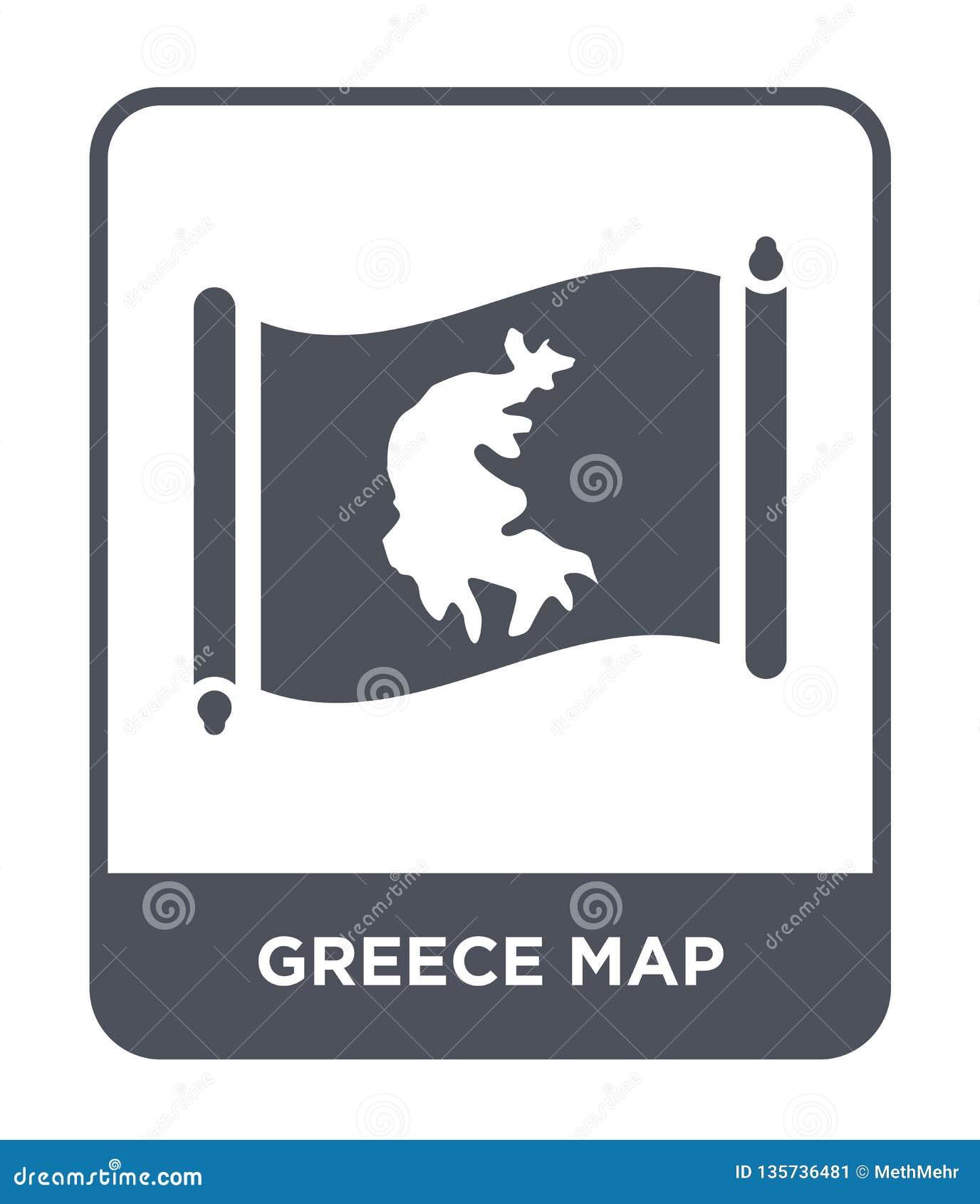 Grekland översiktssymbol i moderiktig designstil Grekland översiktssymbol som isoleras på vit bakgrund modern symbol för Grekland