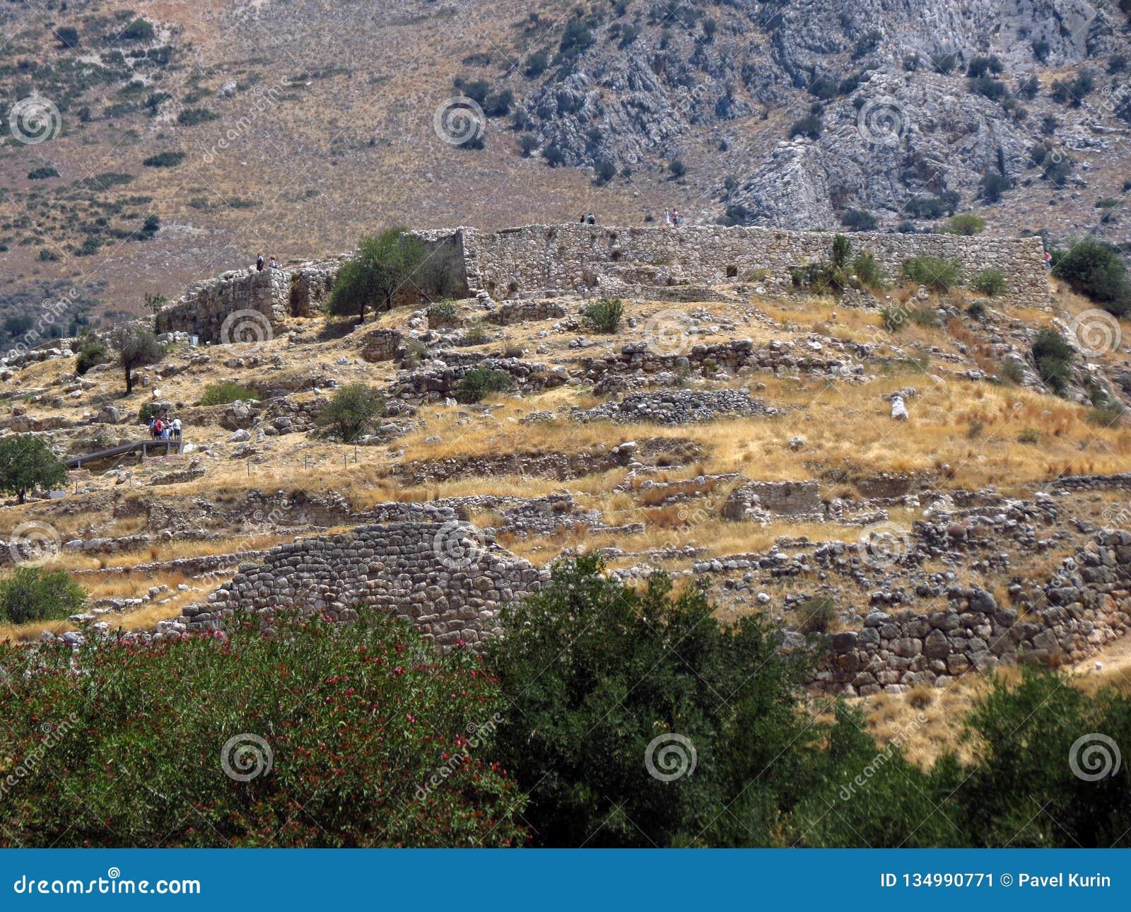 Grekland Mycenae, sikt av en av de äldsta bosättningarna