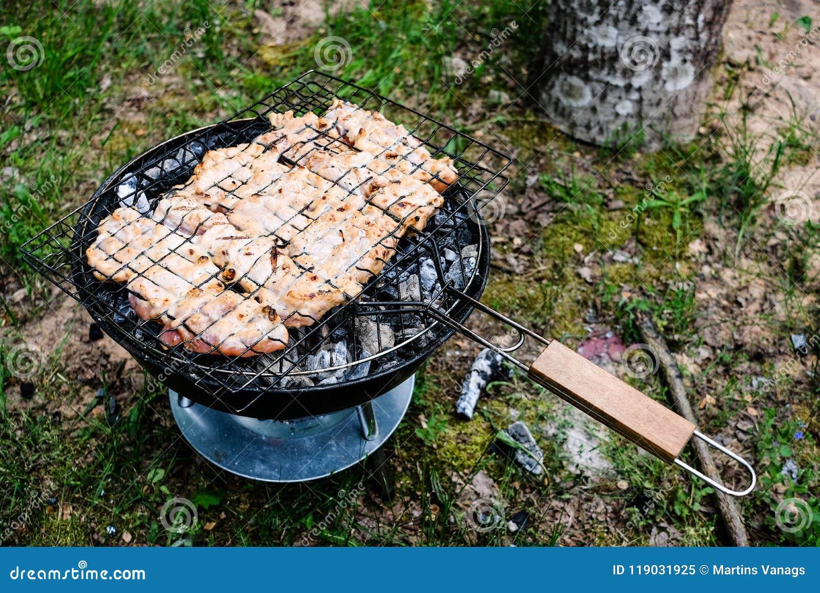 Grelhando a variedade deliciosa de carne no carvão vegetal do assado grelhe g