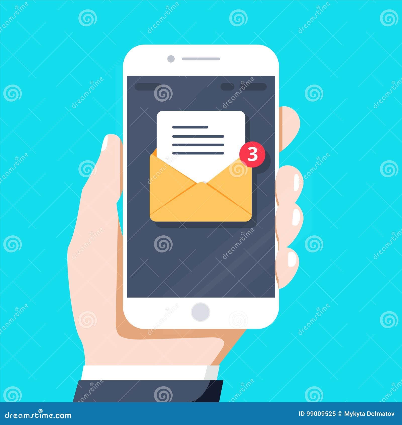 Grelle Designarthand, die den Smartphone mit E-Mail-Anwendung auf Schirm, Vektordesign hält