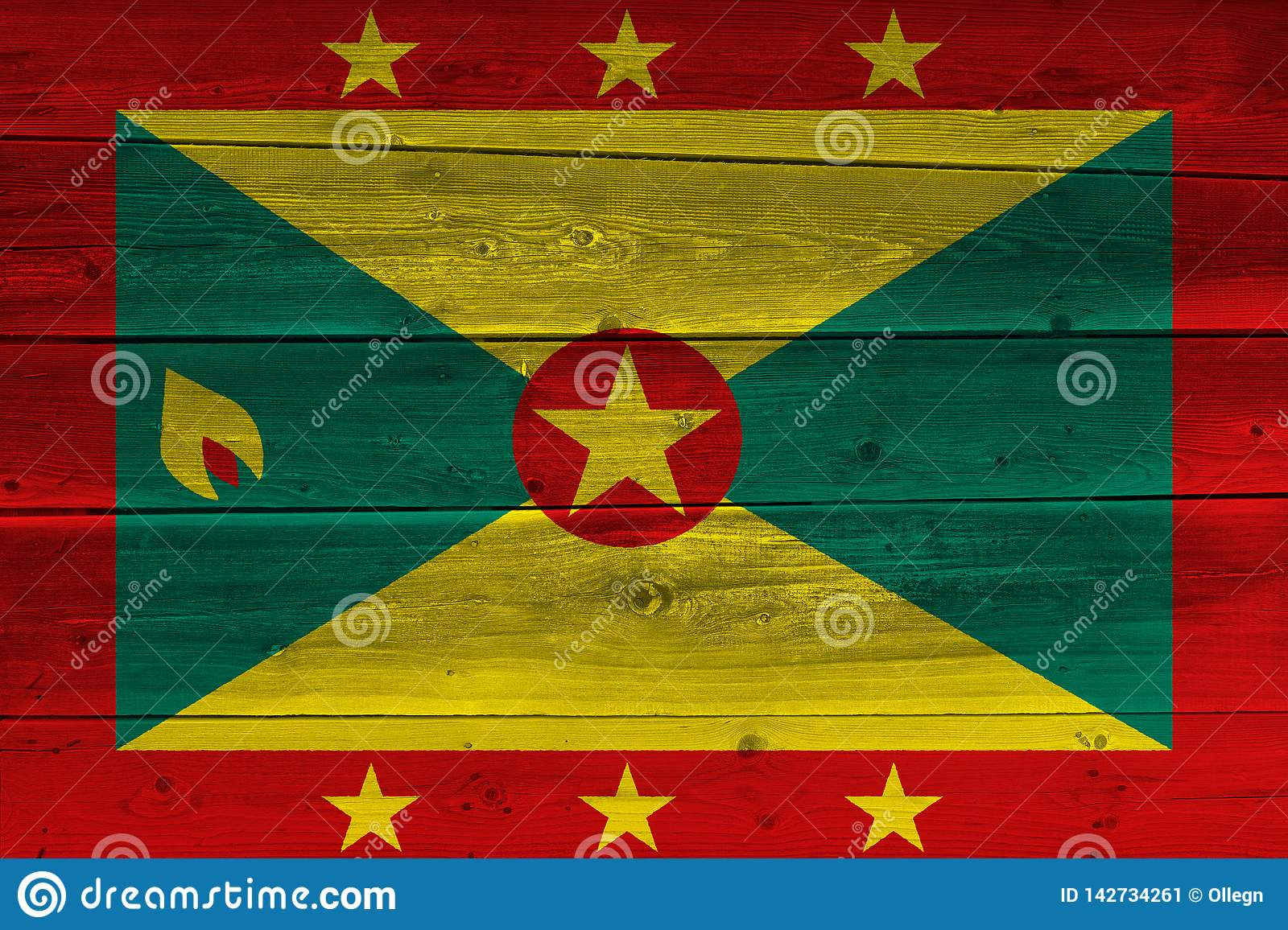 Grenada Flag Painted On Old Wood Plank Stock Image - Image