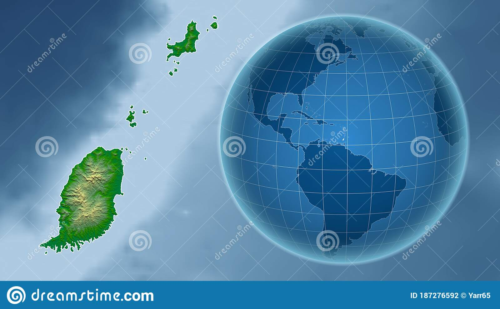 Picture of: Grenada Physical Country And Globe Composition Stock Illustration Illustration Of Cartographic Aster 187276592