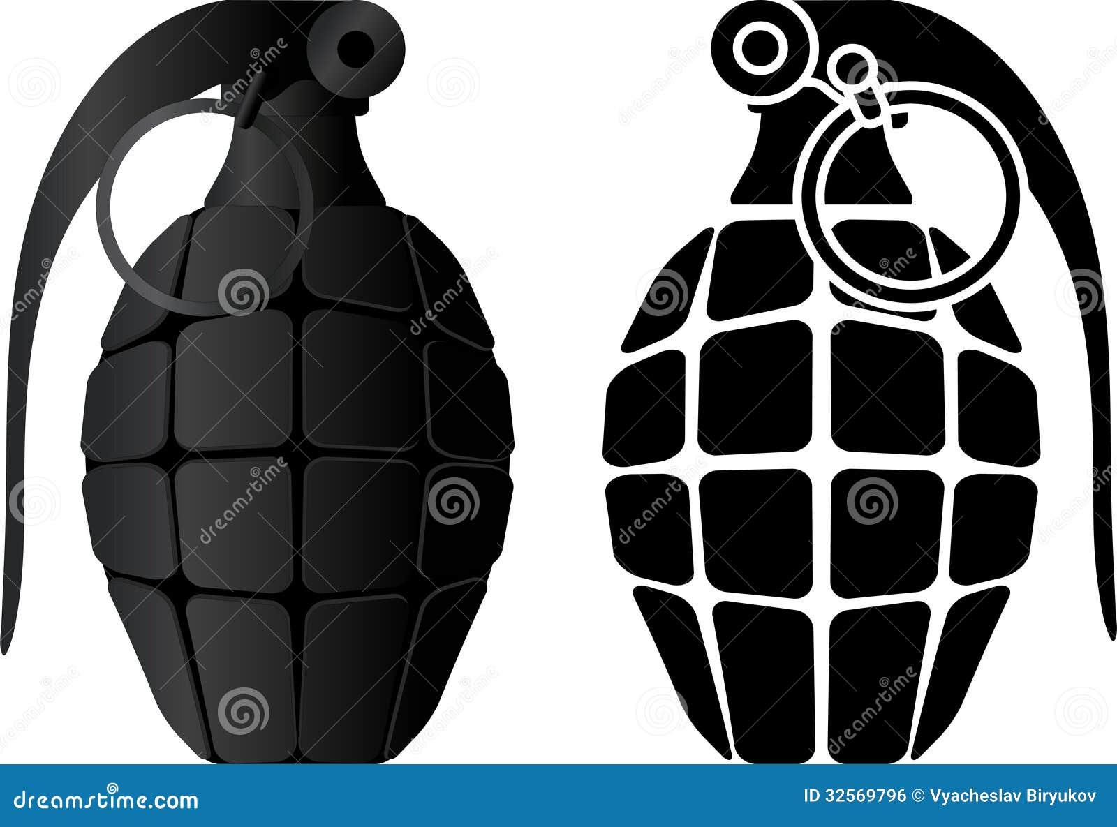 Grenade And Grenade Stencil Royalty Free Stock Image