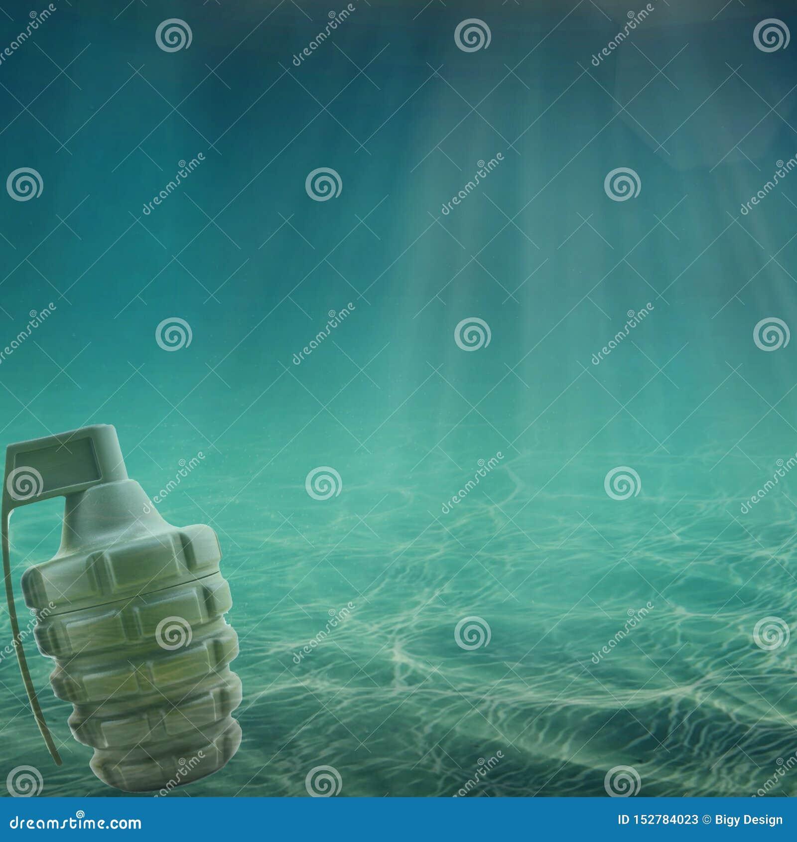 Grenade in the sea or ocean. Oil War