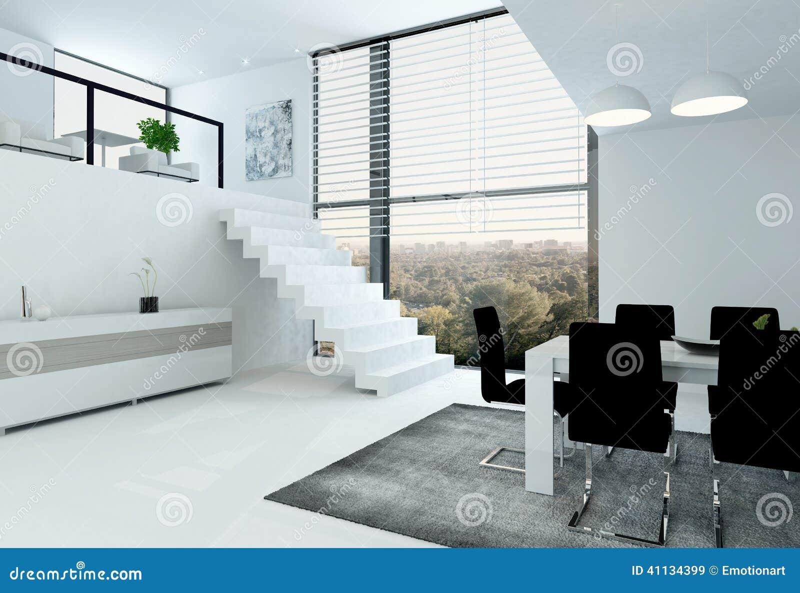 Grenier blanc avec l 39 escalier et la table de salle for Helene darroze la salle a manger
