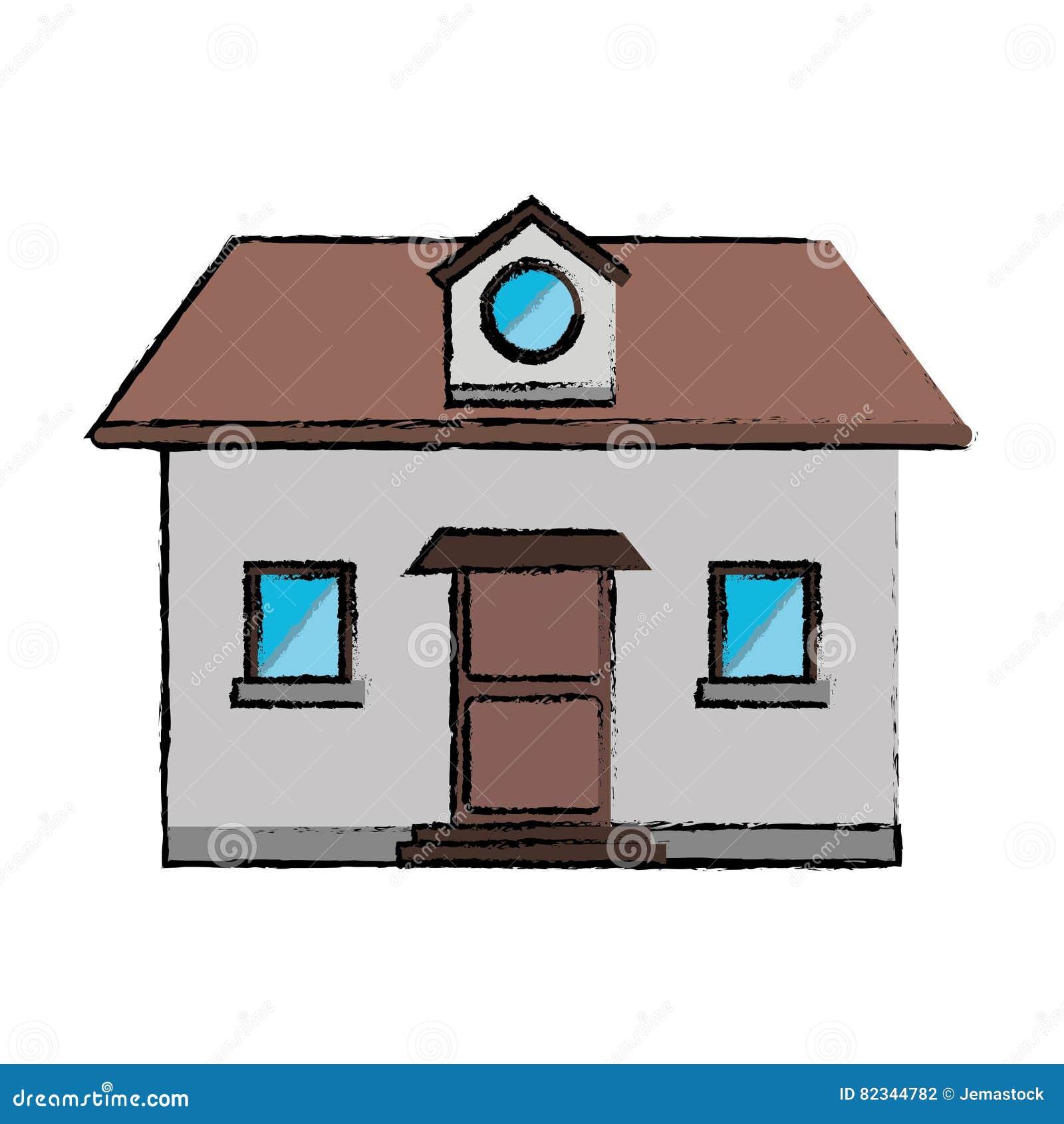 La fenêtre de dessin de maison de vue de face tracent lillustration env 10 de vecteur