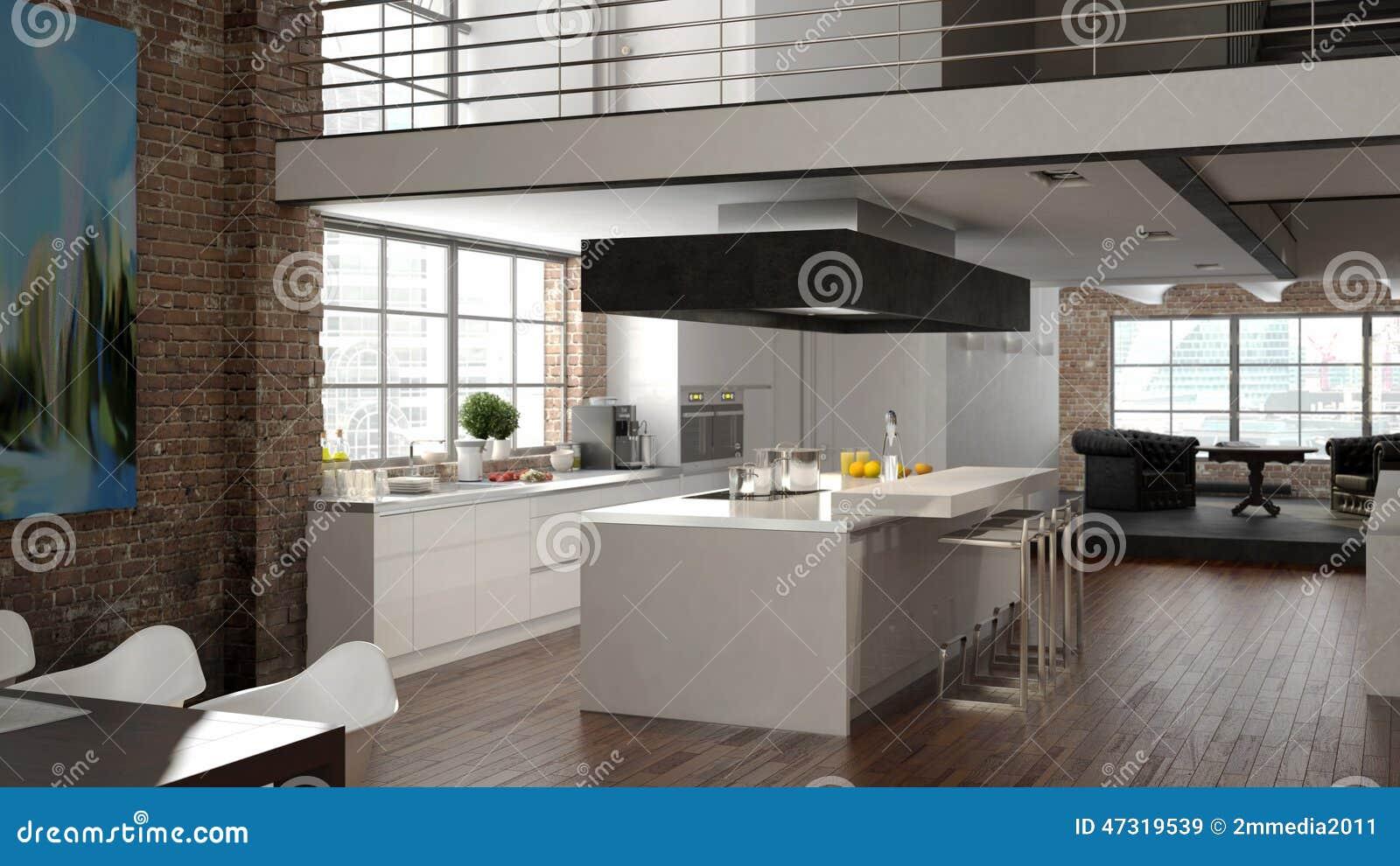Grenier moderne avec une cuisine rendu 3d illustration for Cuisine 3d bessines