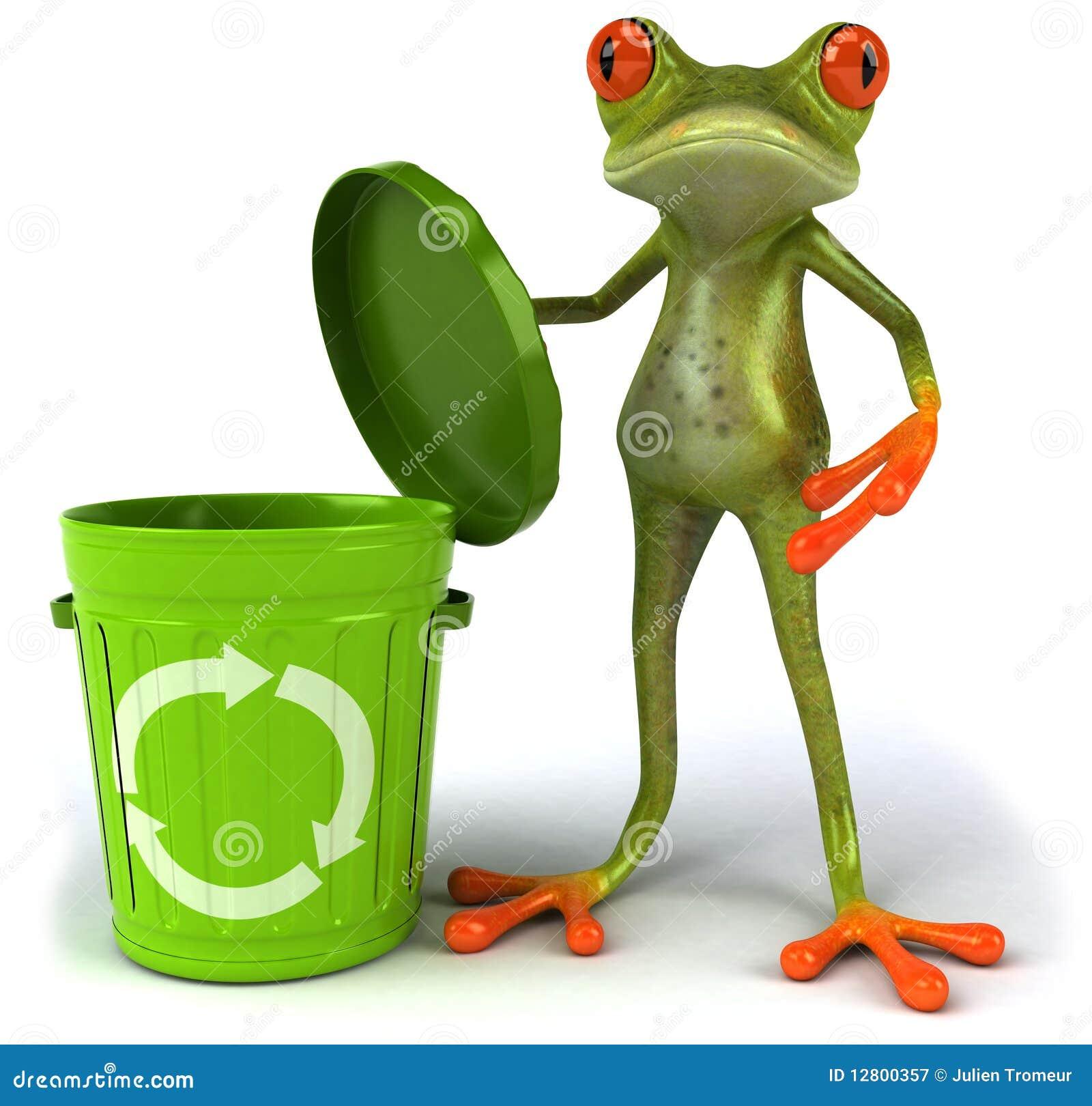 grenouille avec une poubelle photographie stock libre de
