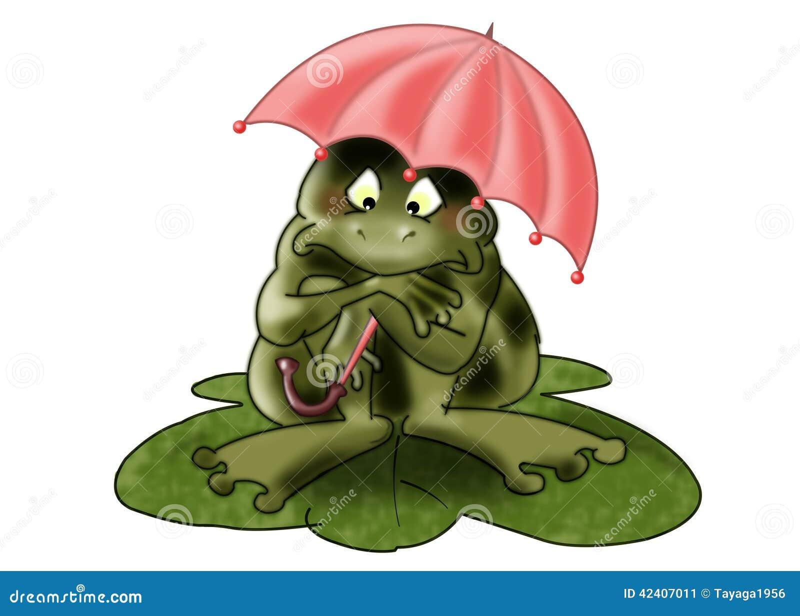 Grenouille Sous Le Parapluie Illustration De Vecteur Illustration