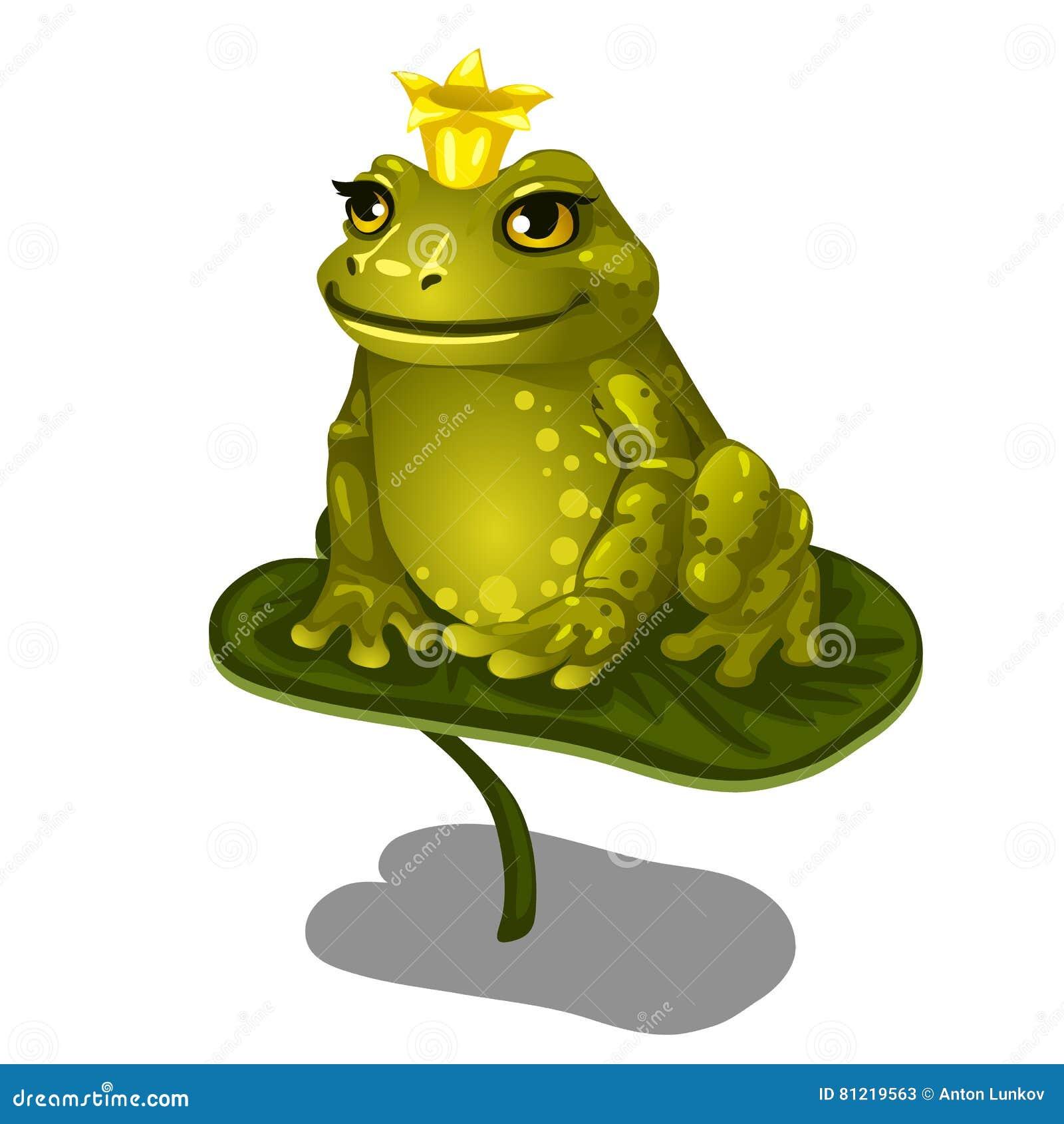 Grenouille Couronne grenouille verte avec la couronne d'or se reposant sur la grande