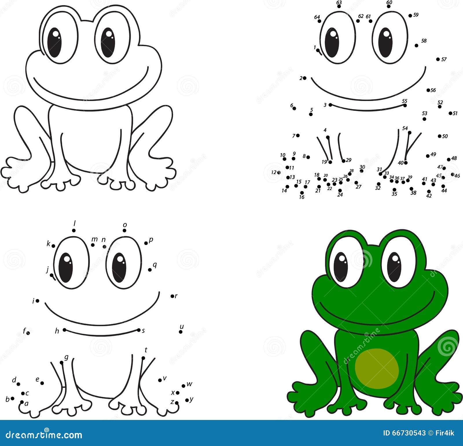 Grenouille verte livre de coloriage et point pour pointiller le jeu pour des enfants - Dessin de grenouille verte ...