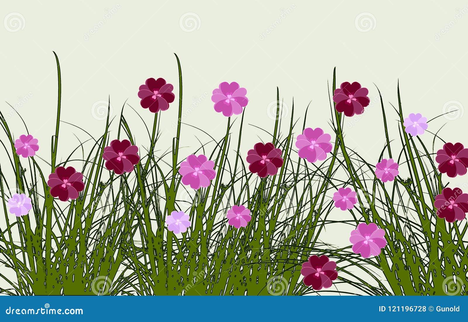 Grens van de zomerbloemen in een weide, digitaal kunstontwerp