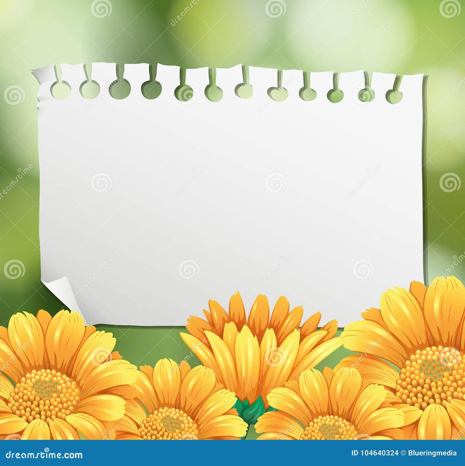 Download Grensmalplaatje Met Gele Bloemen In Tuin Vector Illustratie - Illustratie bestaande uit bulletin, beeld: 104640324