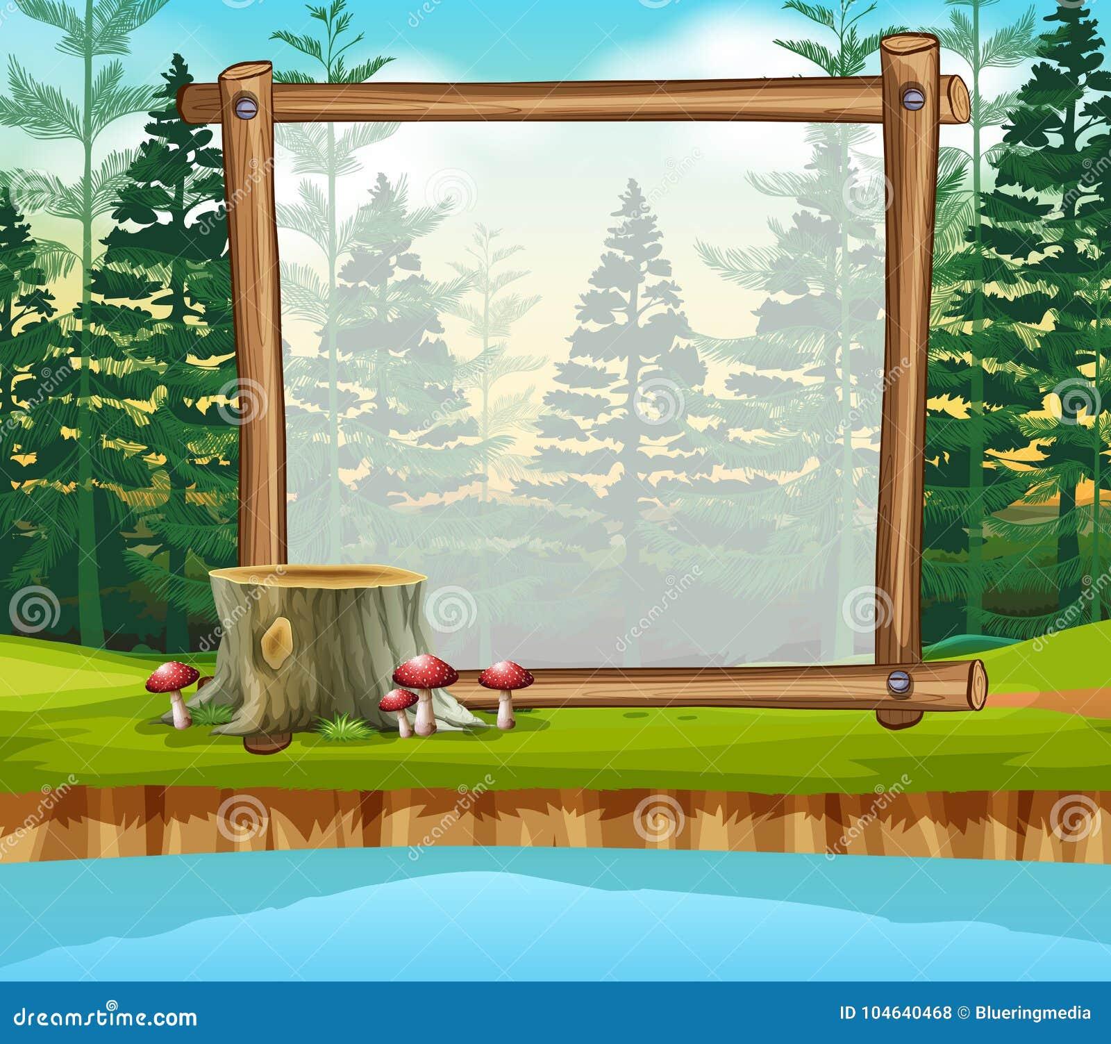 Download Grensmalplaatje Met Pijnboombos Op Achtergrond Vector Illustratie - Illustratie bestaande uit grafisch, malplaatje: 104640468