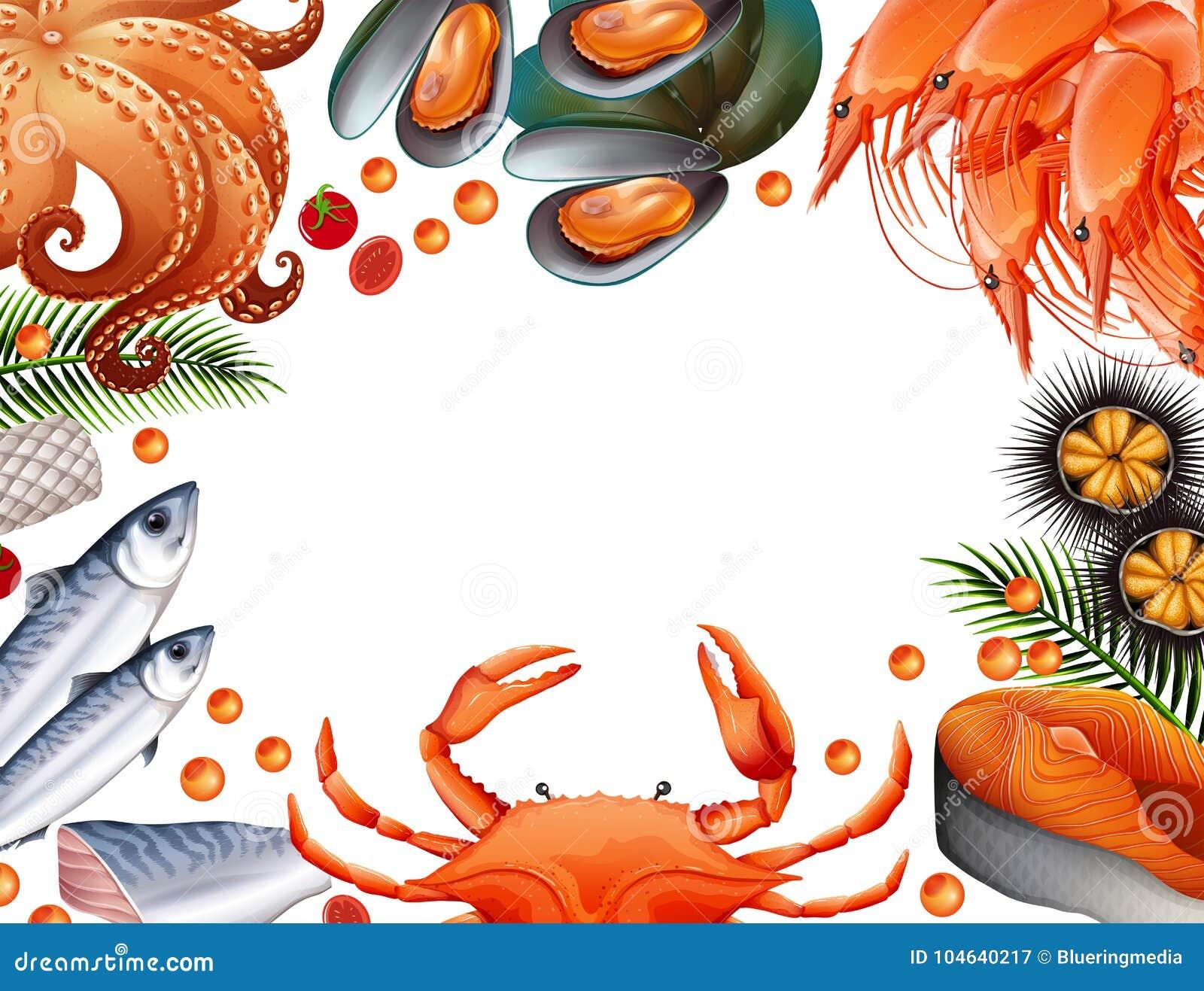 Download Grensmalplaatje Met Verschillende Soorten Zeevruchten Vector Illustratie - Illustratie bestaande uit zalm, garnalen: 104640217