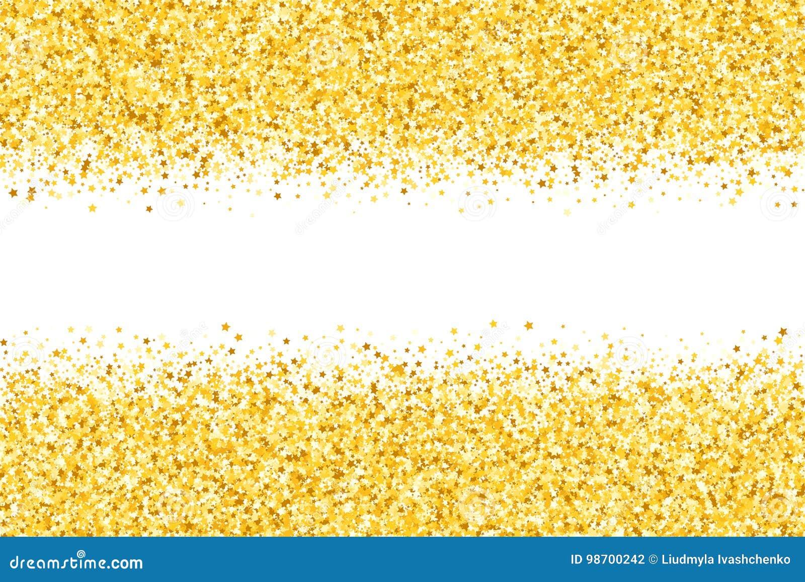 Grenze mit Schimmersternen Goldschein Goldener Rahmen von Sternen Rand confetti