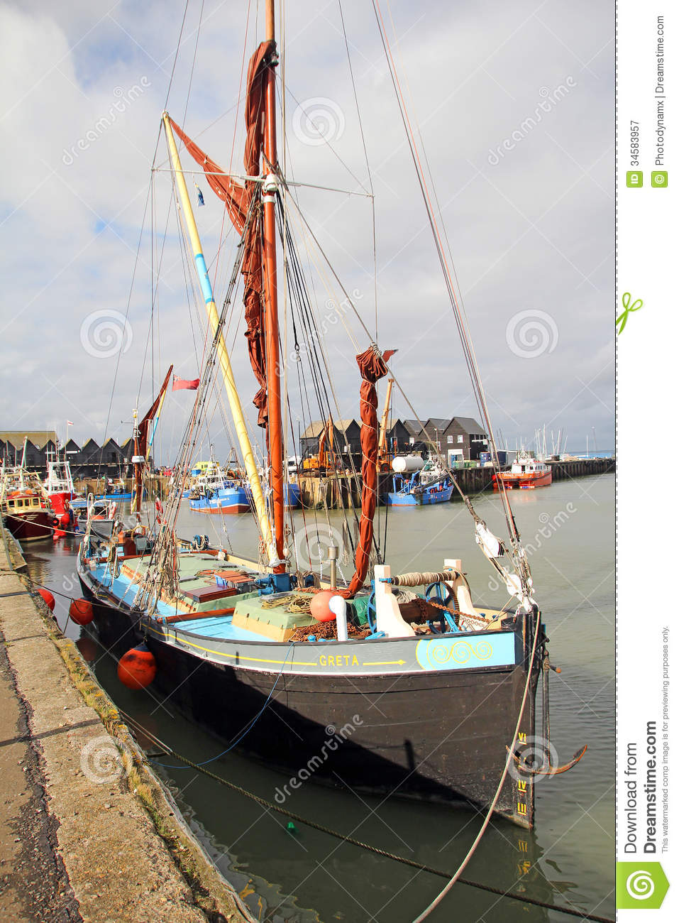 Greta Sailing Barge In Whitstable Harbour Editorial Photography - Image: 34583957