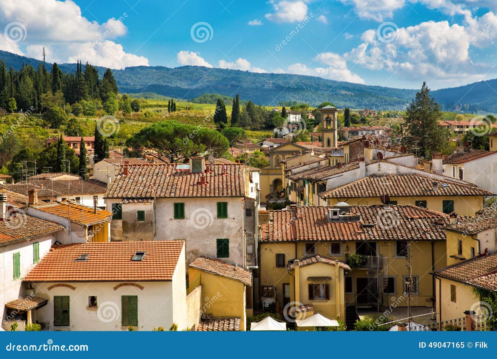 Greve na arquitetura da cidade do Chianti