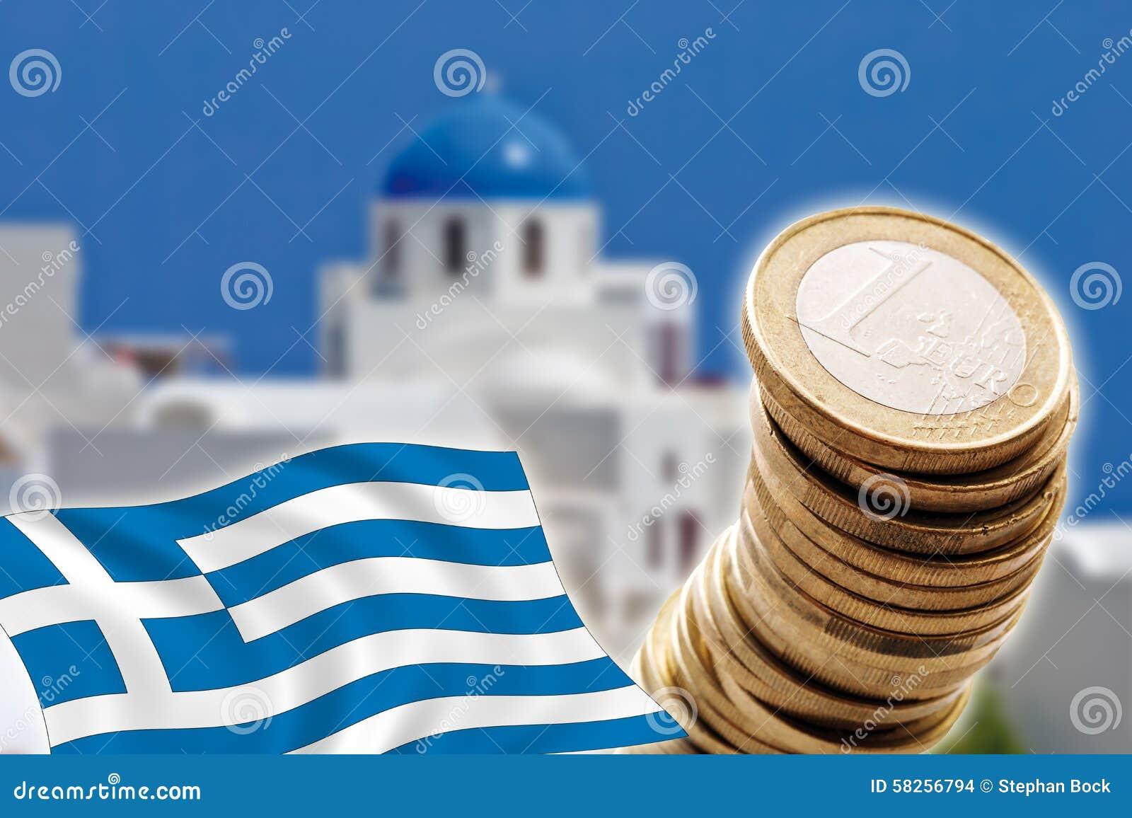Grexit, Euro muntstukken, vlag, Griekenland, Santorini