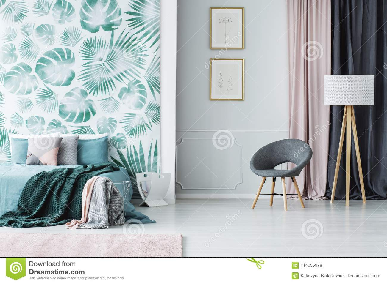 Fantastic Grey Armchair In Green Bedroom Stock Photo Image Of Floral Home Interior And Landscaping Ologienasavecom