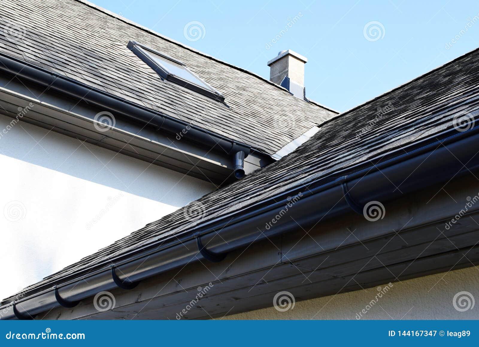 Grey Asphalt Shingles Roof Construction Stock Image - Image