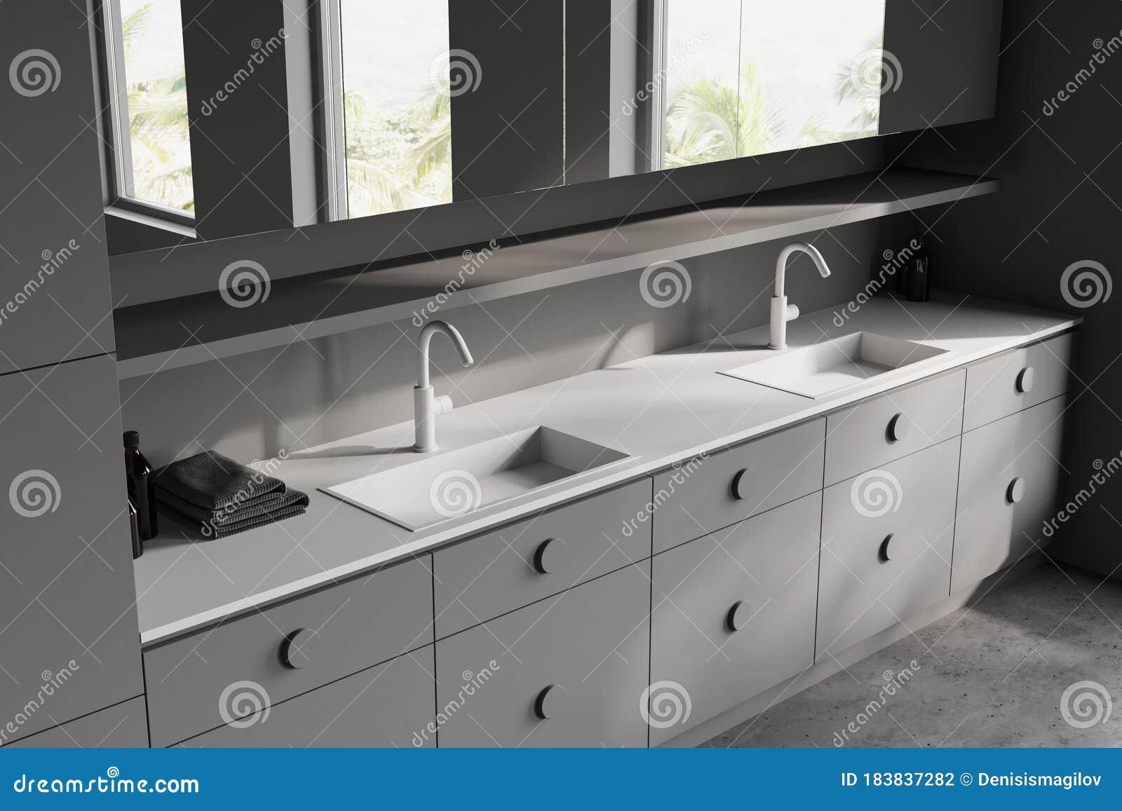 Grey Bathroom Corner With Double Sink Stock Illustration Illustration Of Floor Decor 183837282