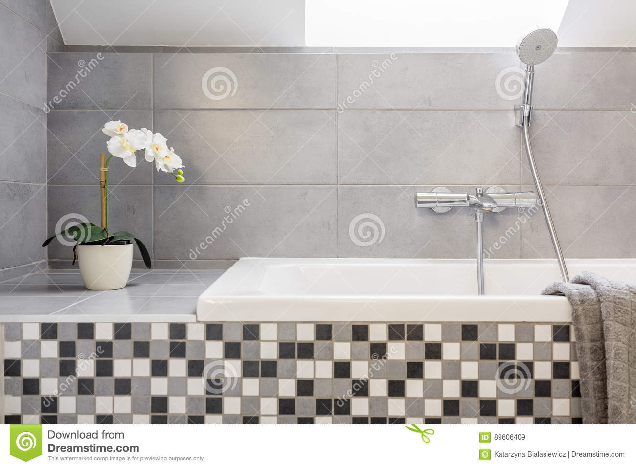 Grey Bathroom With Mosaic Tiles Stock Image - Image of orchid ...
